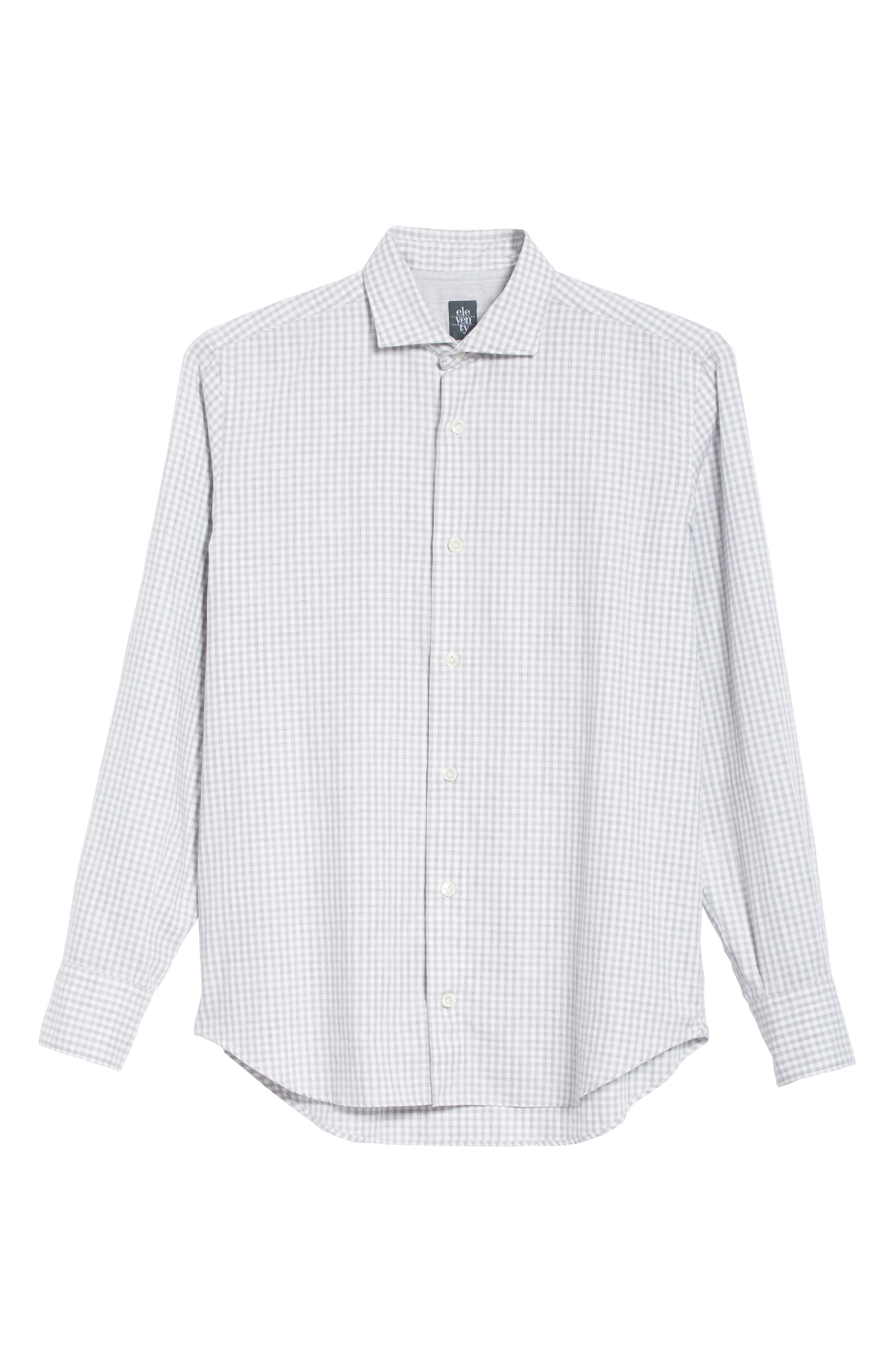 Slim Fit Check Dress Shirt,                             Alternate thumbnail 7, color,                             Light Grey