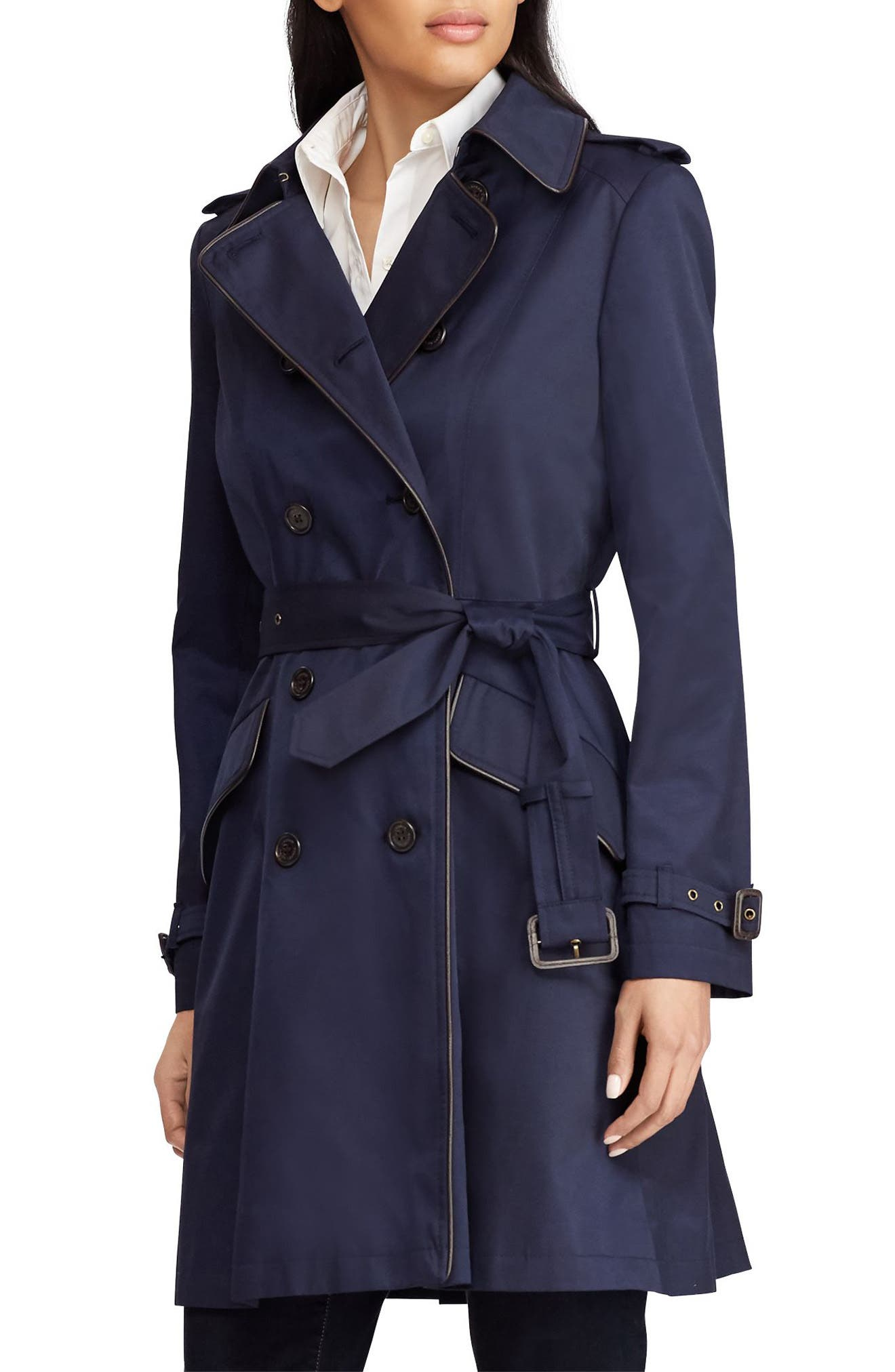 Lauren Ralph Lauren Double Breasted Short Trench Coat (Regular \u0026 Petite)