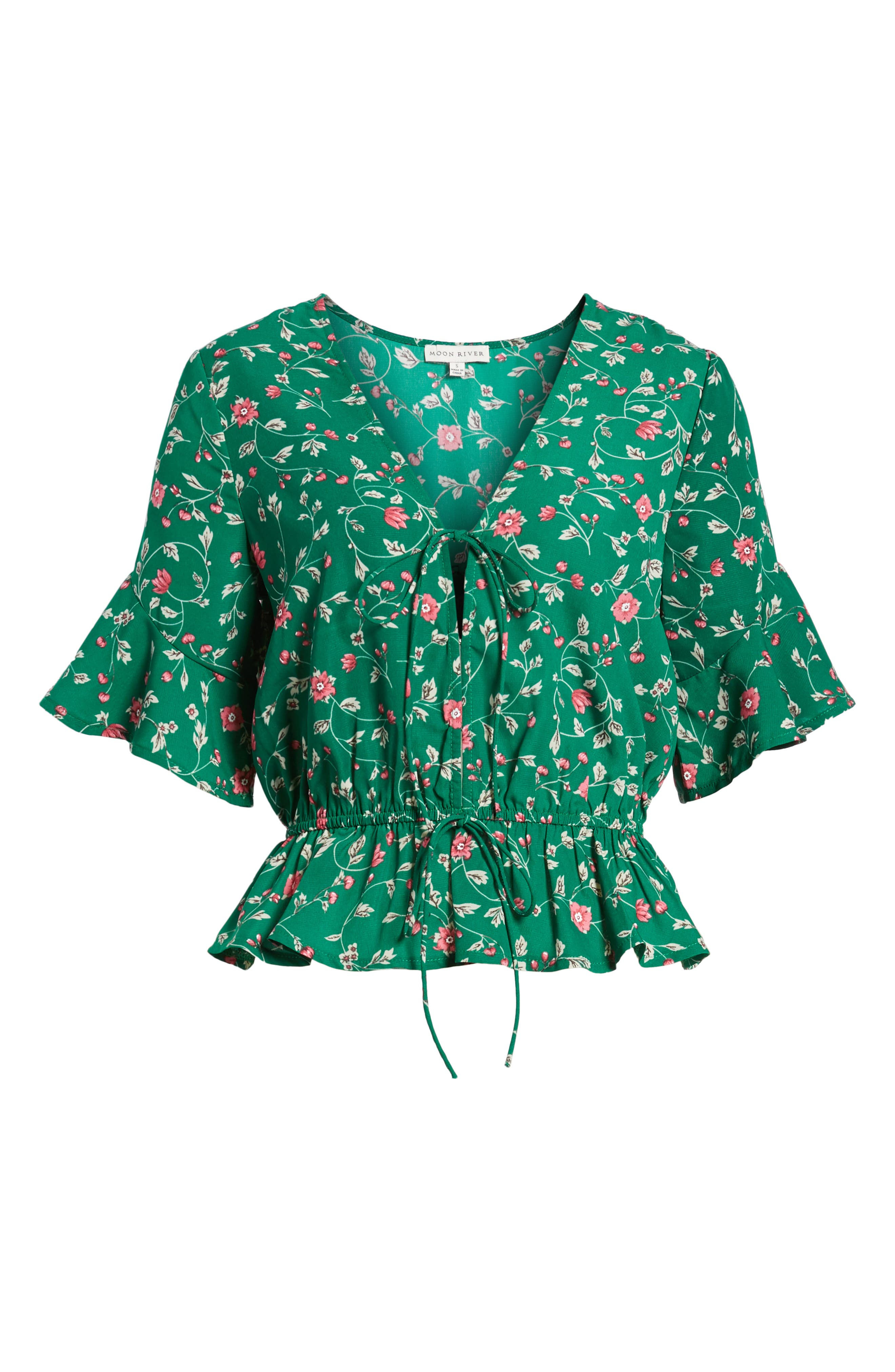 Floral Tie Front Peplum Top,                             Alternate thumbnail 7, color,                             Green/ Pink Floral