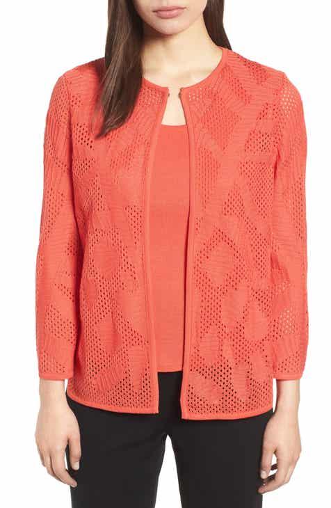 2087cb25c183c Ming Wang Pointelle Knit Jacket