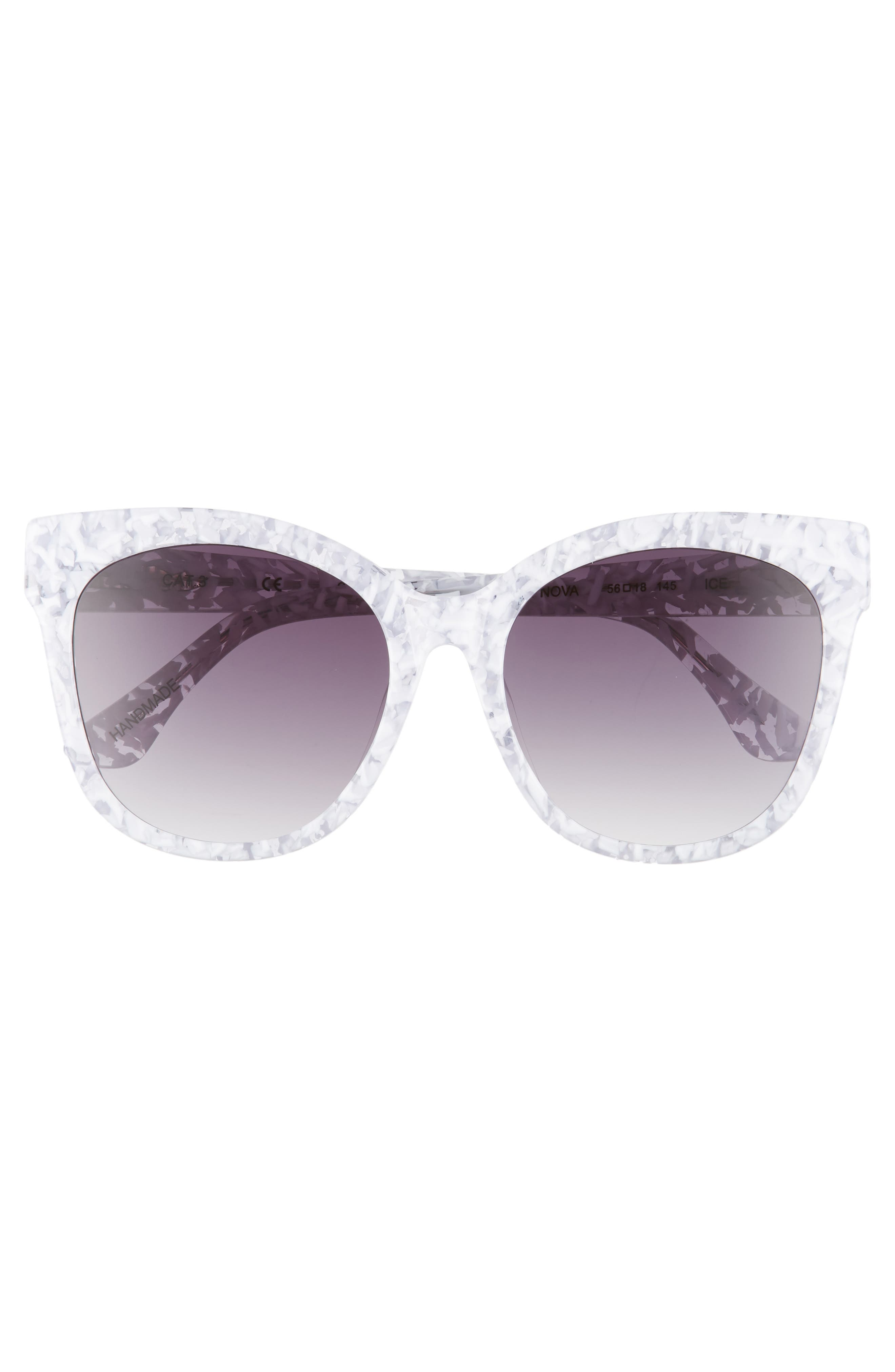 Bossa Nova 57mm Cat Eye Sunglasses,                             Alternate thumbnail 3, color,                             White Speckle