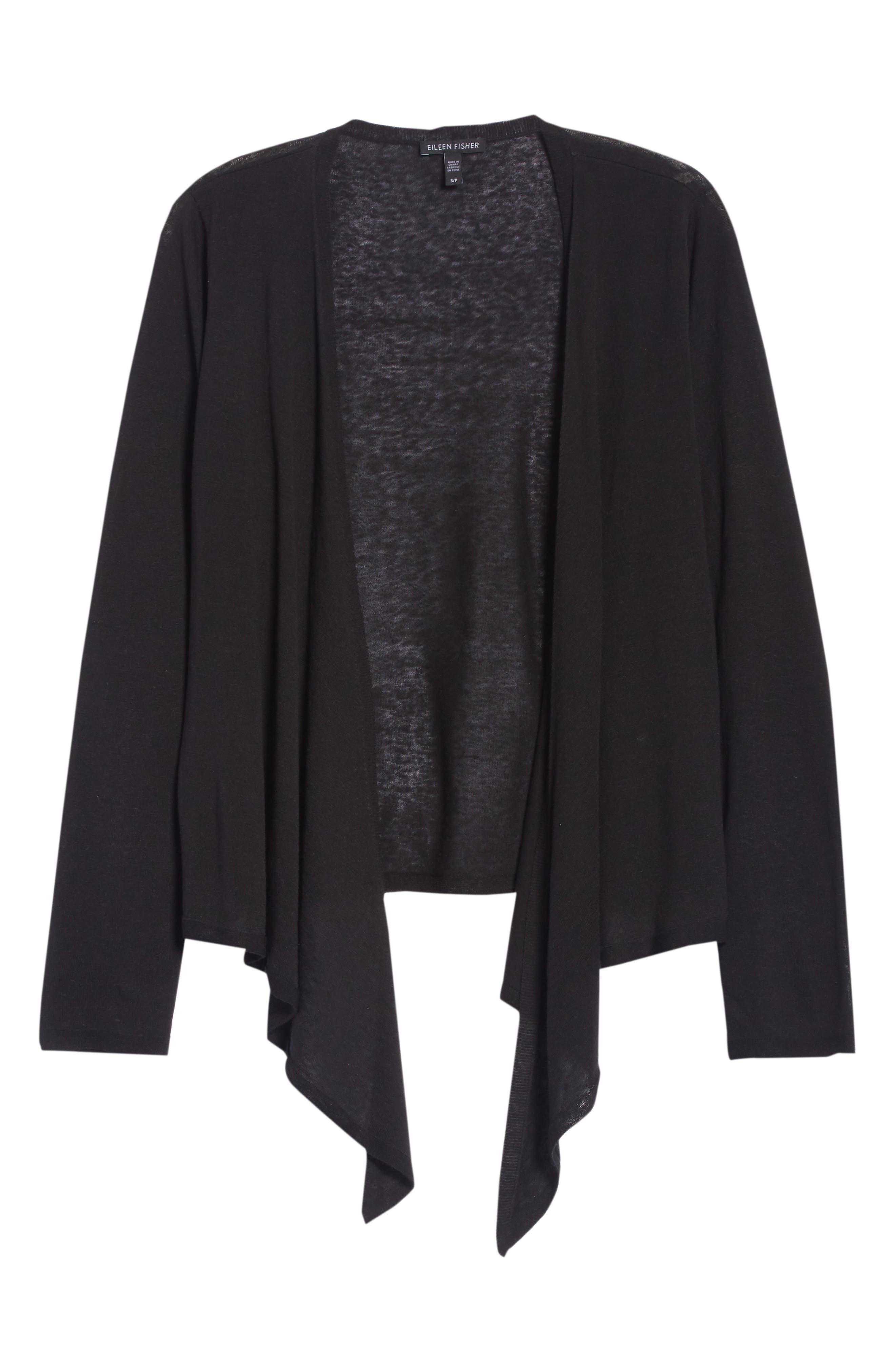 Angle Front Silk Blend Cardigan,                             Alternate thumbnail 6, color,                             Black