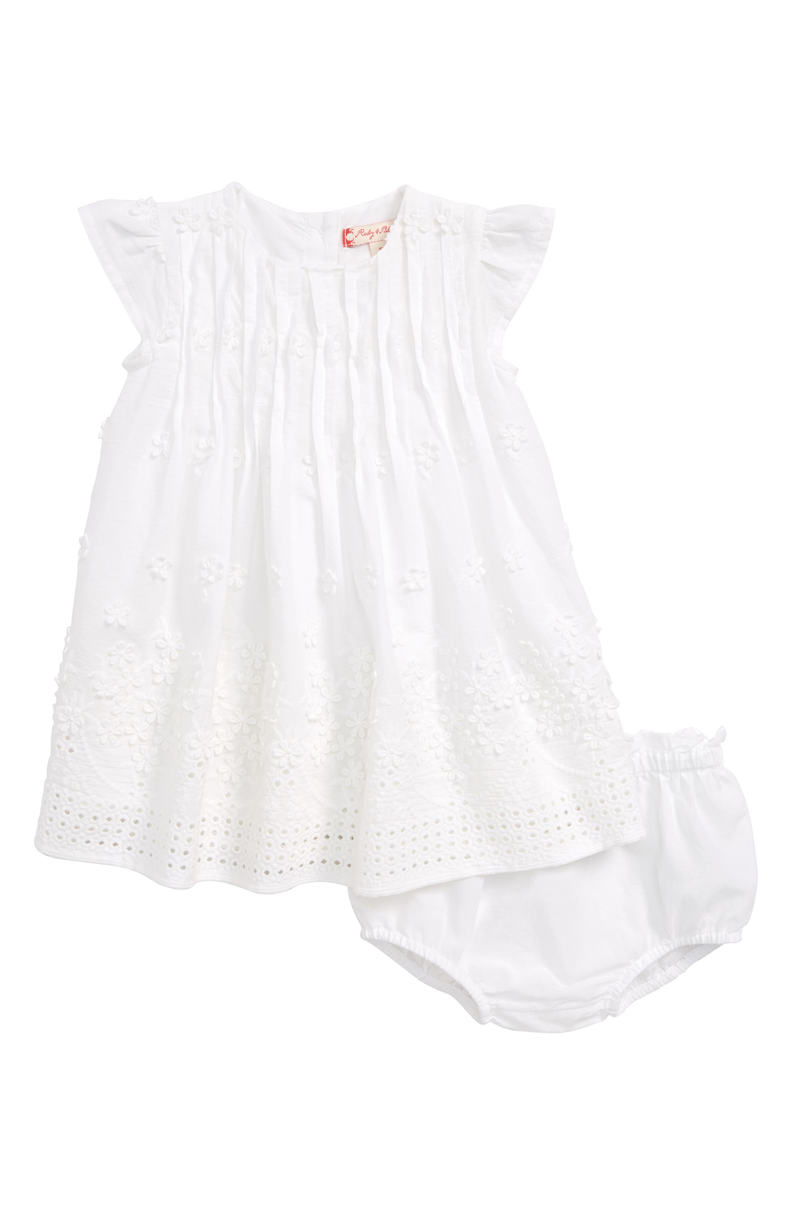 Ruby & Bloom Flower Embroidered Pleated Dress (Baby Girls)