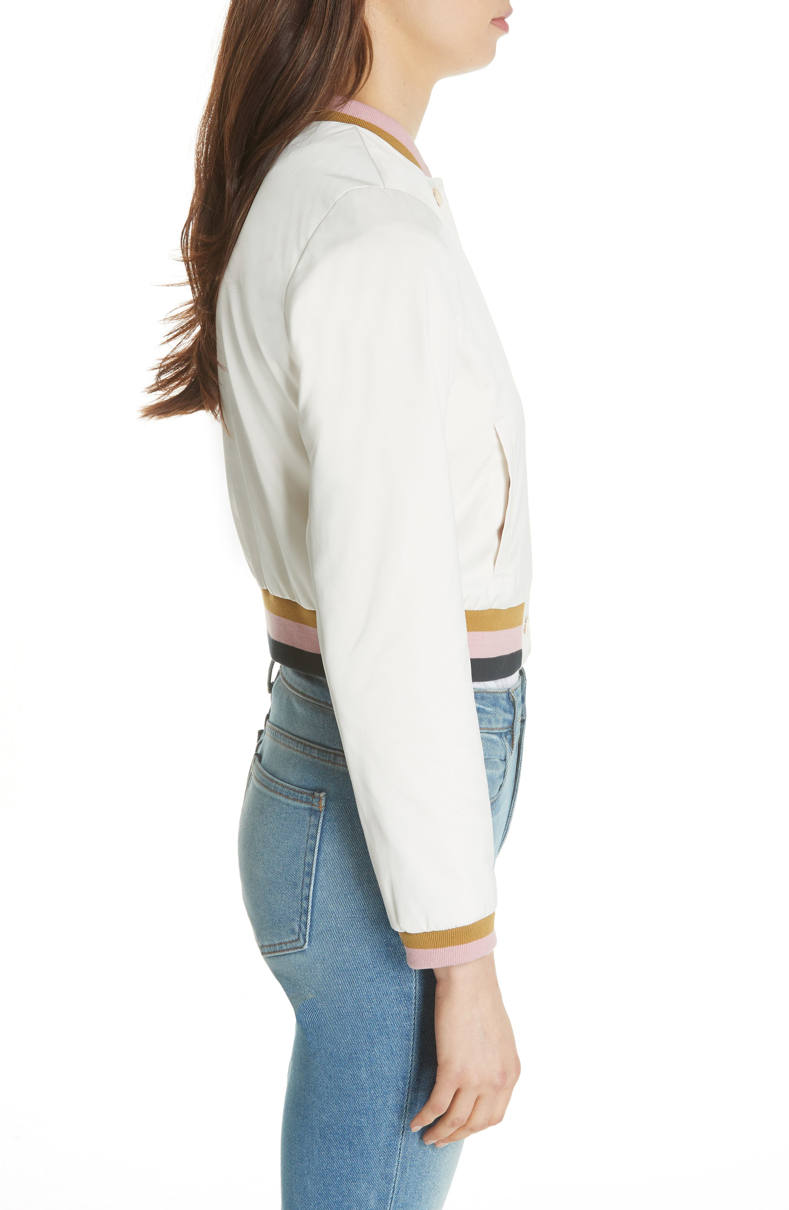 Colour by Numbers Bomber Jacket,                             Alternate thumbnail 3, color,                             Ivory
