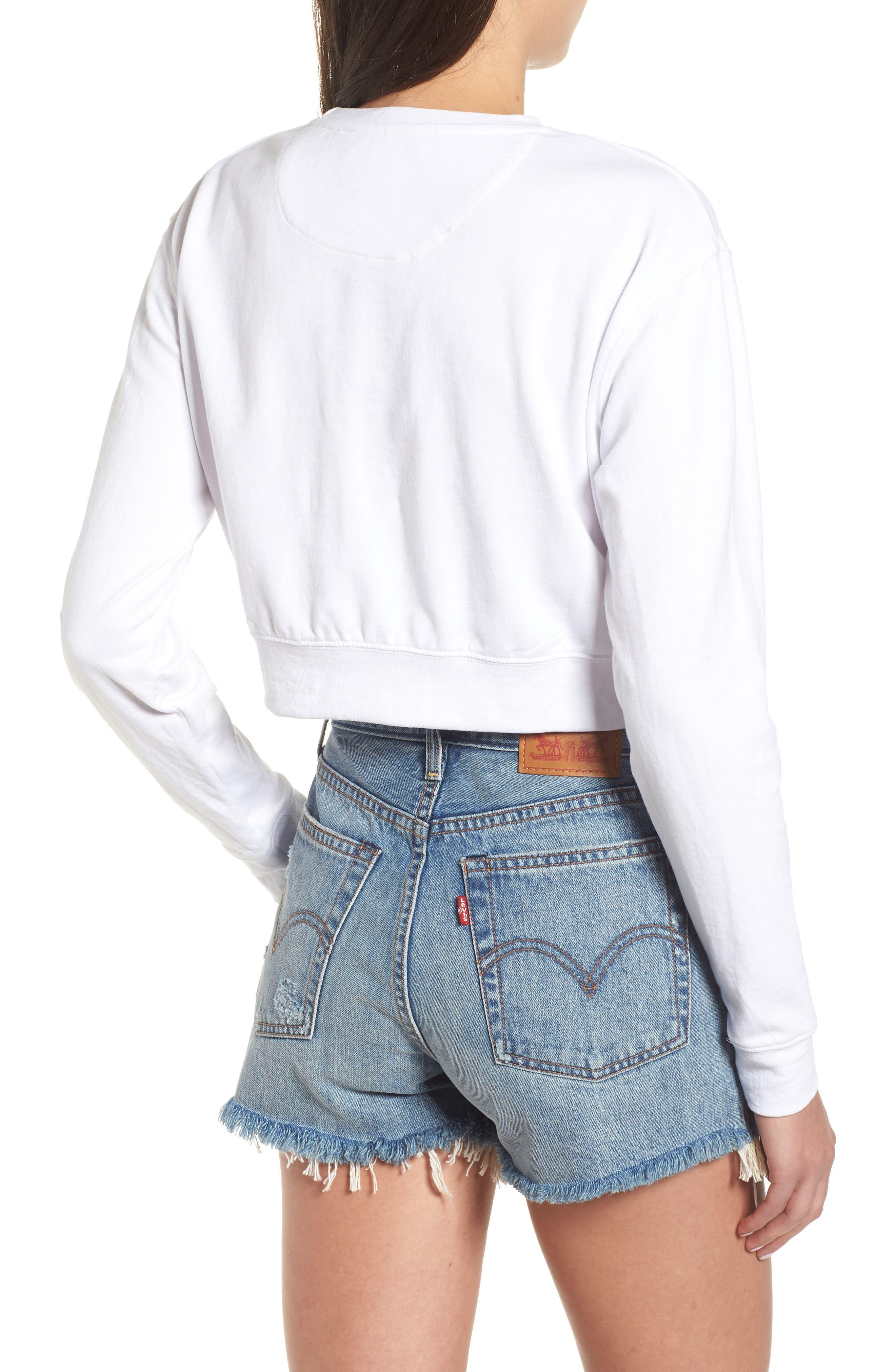 Bamm Bamm Crop Sweatshirt,                             Alternate thumbnail 2, color,                             White