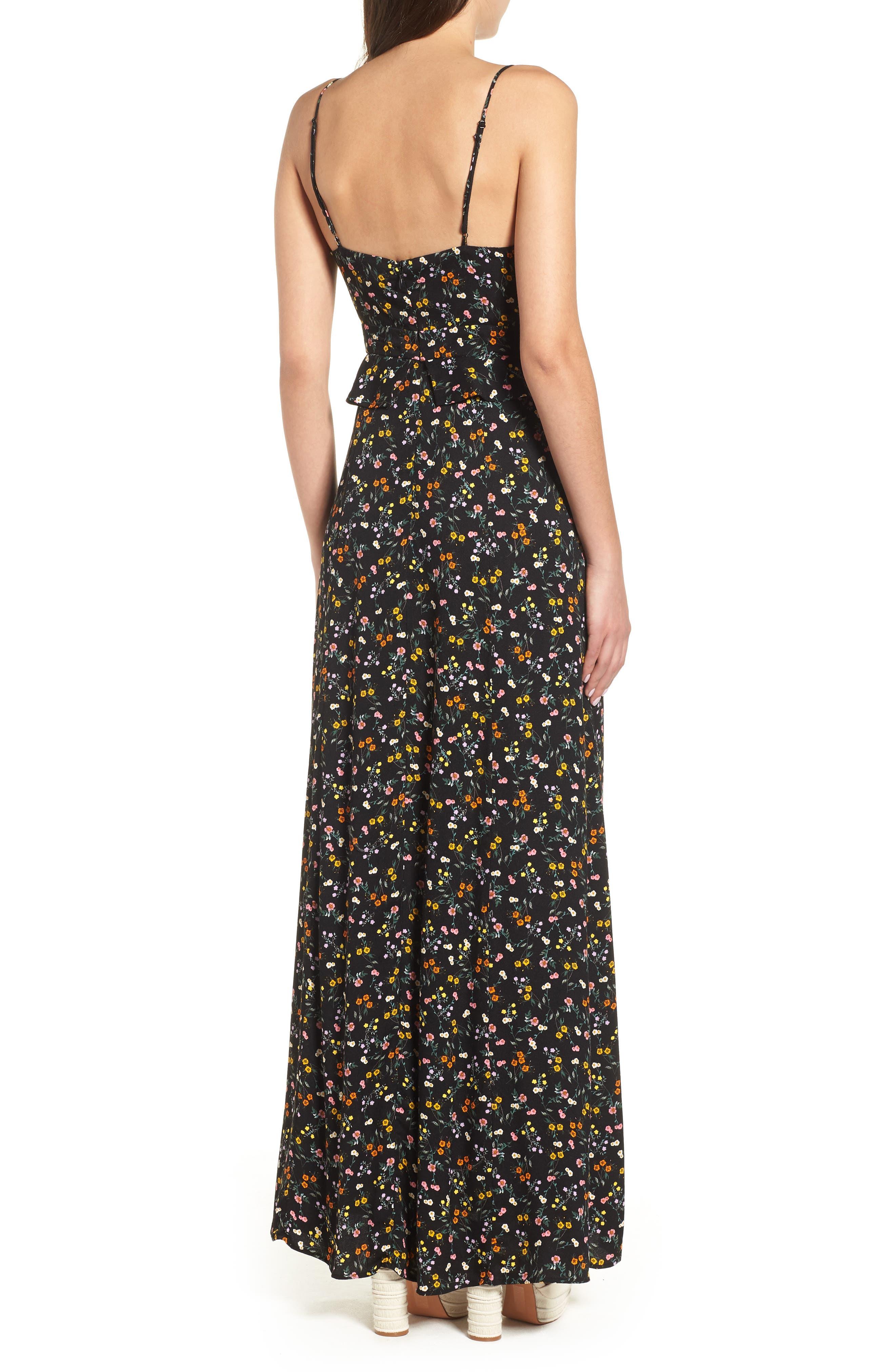 Kiki Ruffle Maxi Dress,                             Alternate thumbnail 2, color,                             Noir Petite Fleur