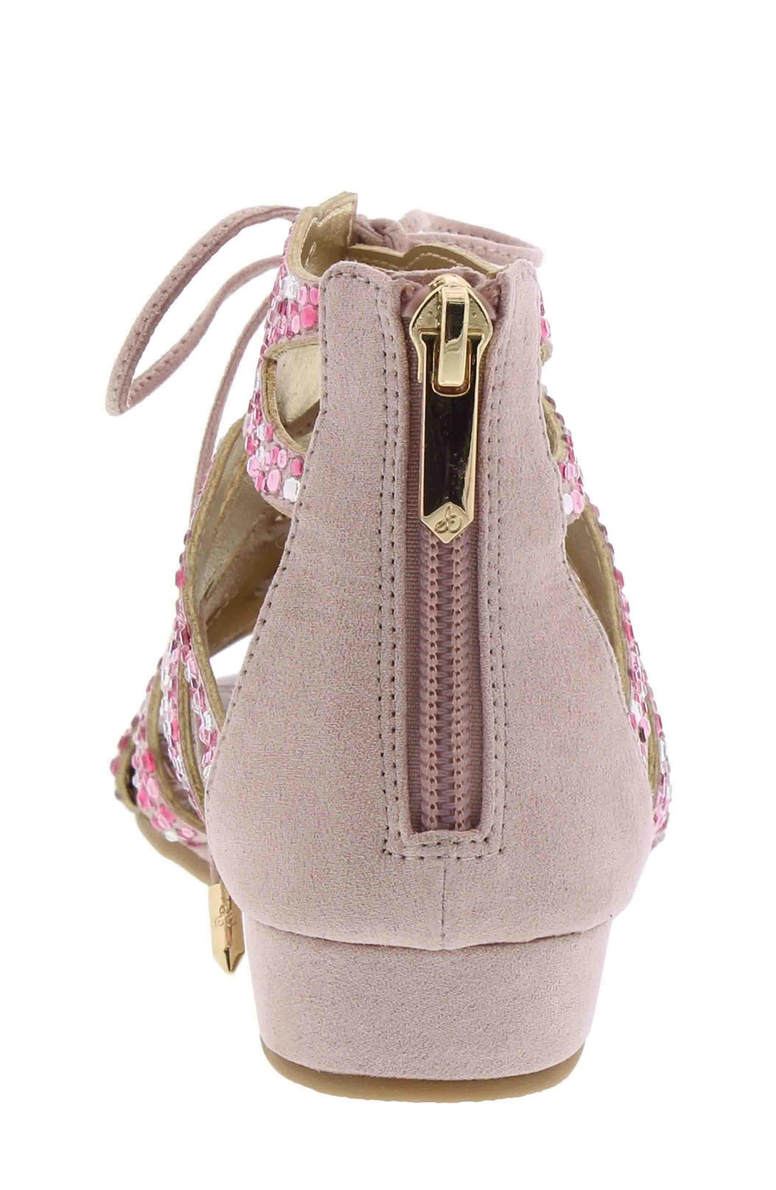 Danica Crystal Embellished Sandal,                             Alternate thumbnail 2, color,                             Blush Faux Suede