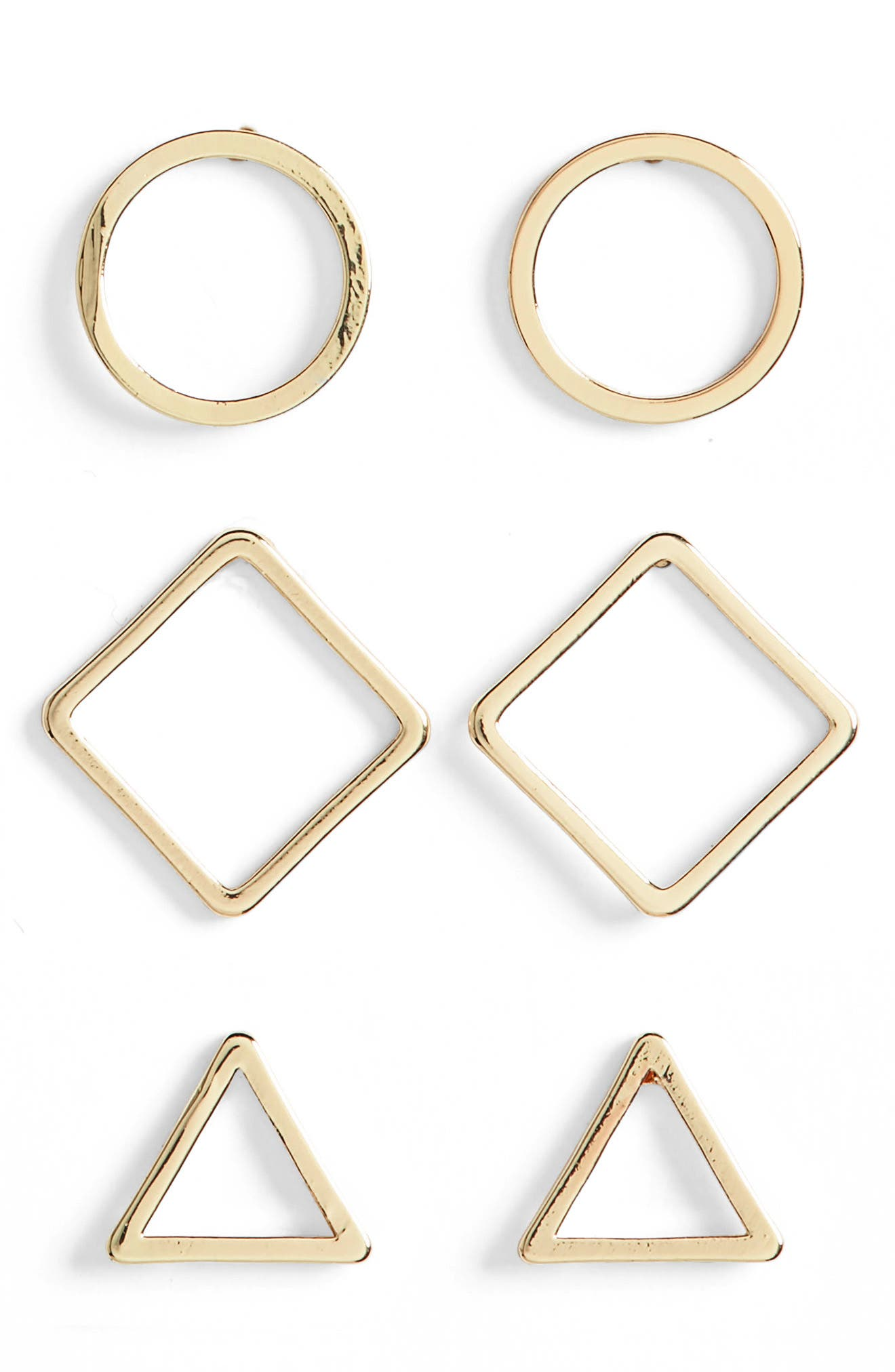 Shaped Assorted 3-Pack Stud Earrings,                         Main,                         color, Gold