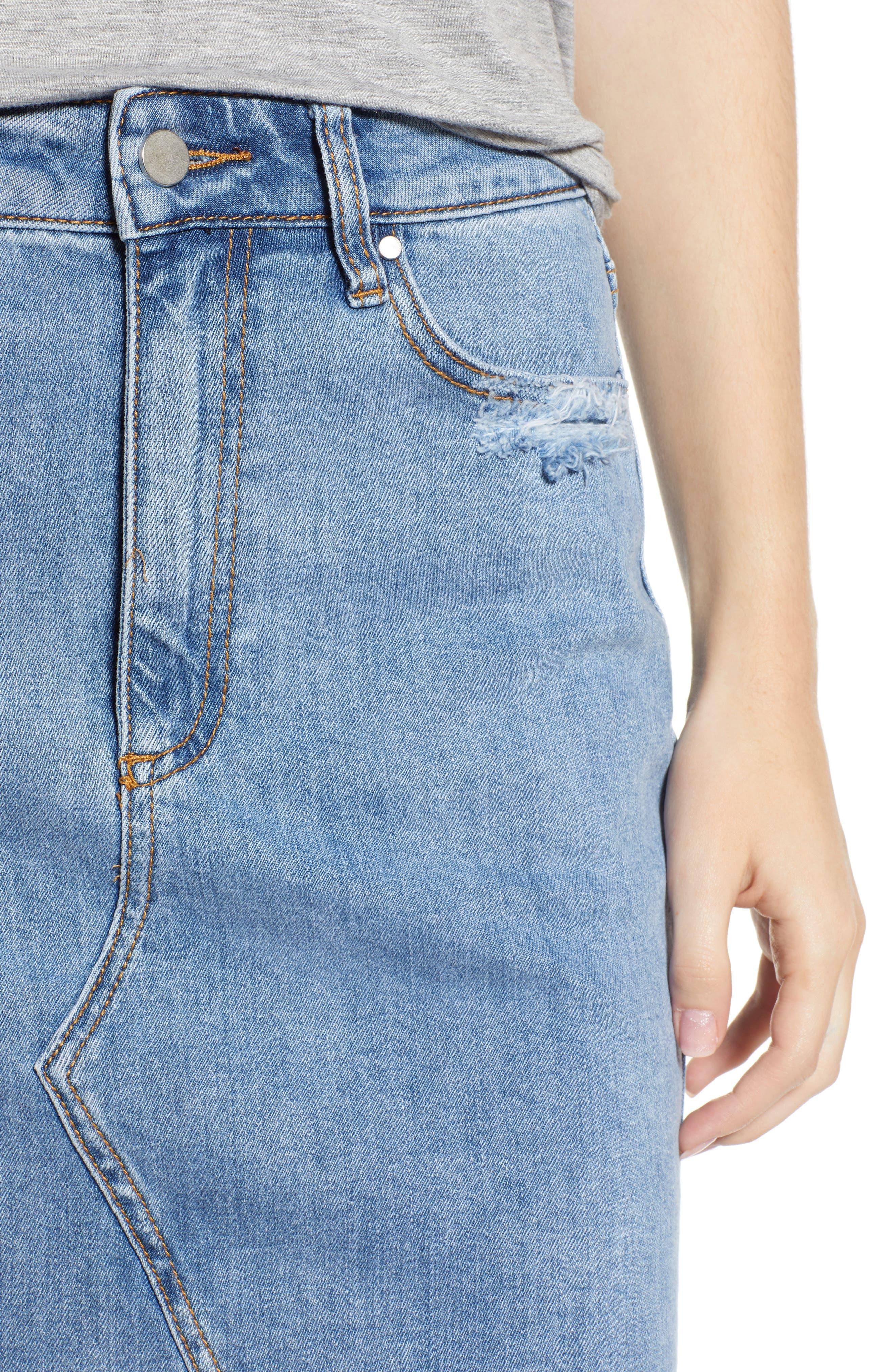 Distressed Denim Skirt,                             Alternate thumbnail 4, color,                             Light Wash