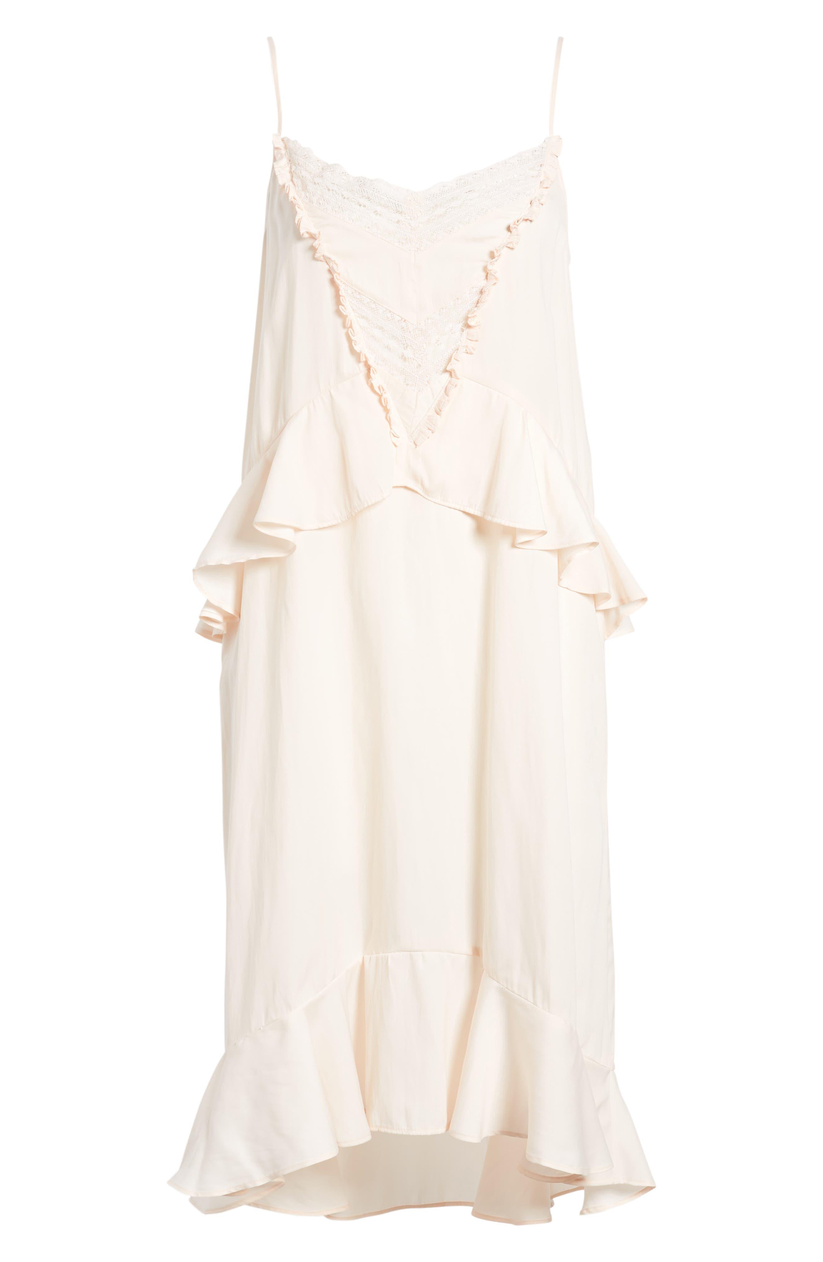 Lace Trim Dress,                             Alternate thumbnail 6, color,                             Pink Scallop