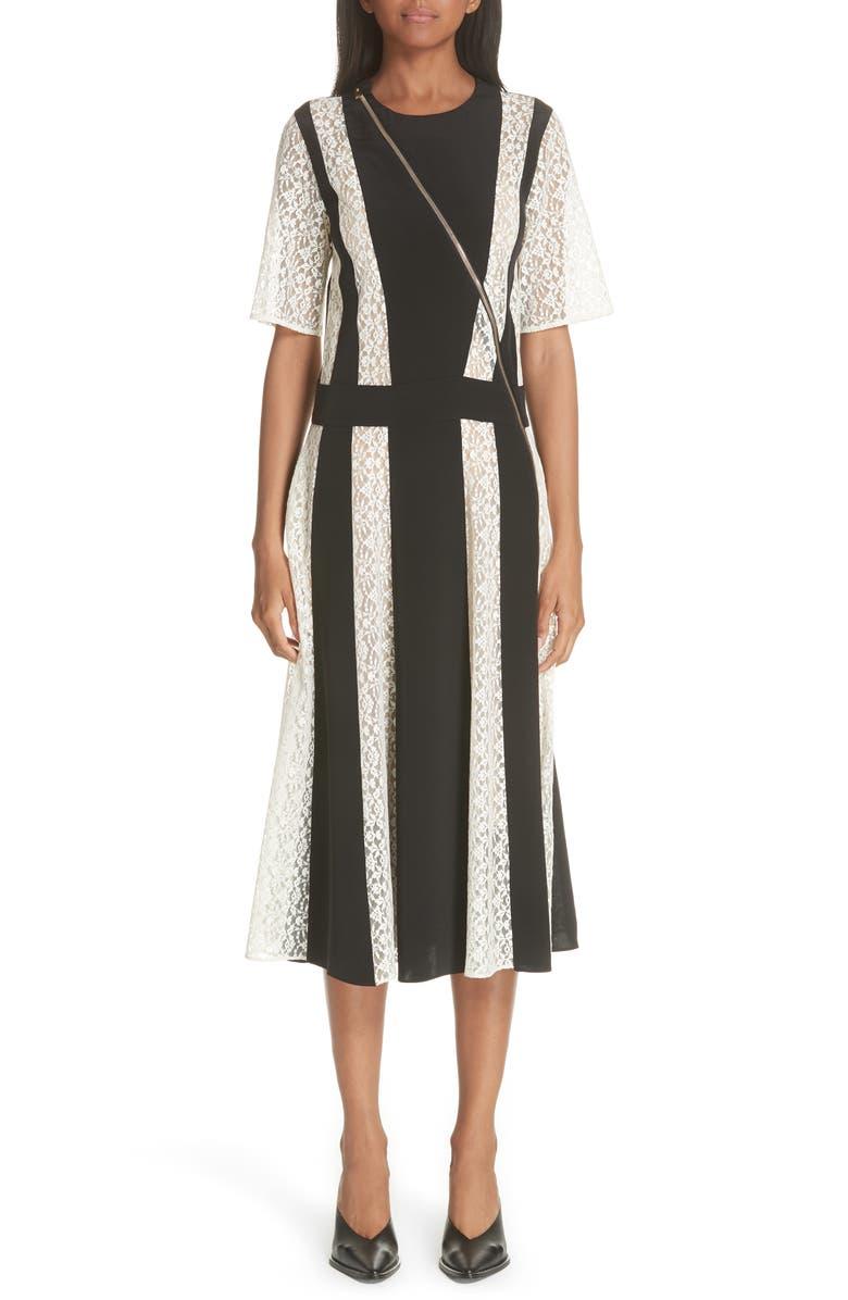 Lace Stripe Silk Dress