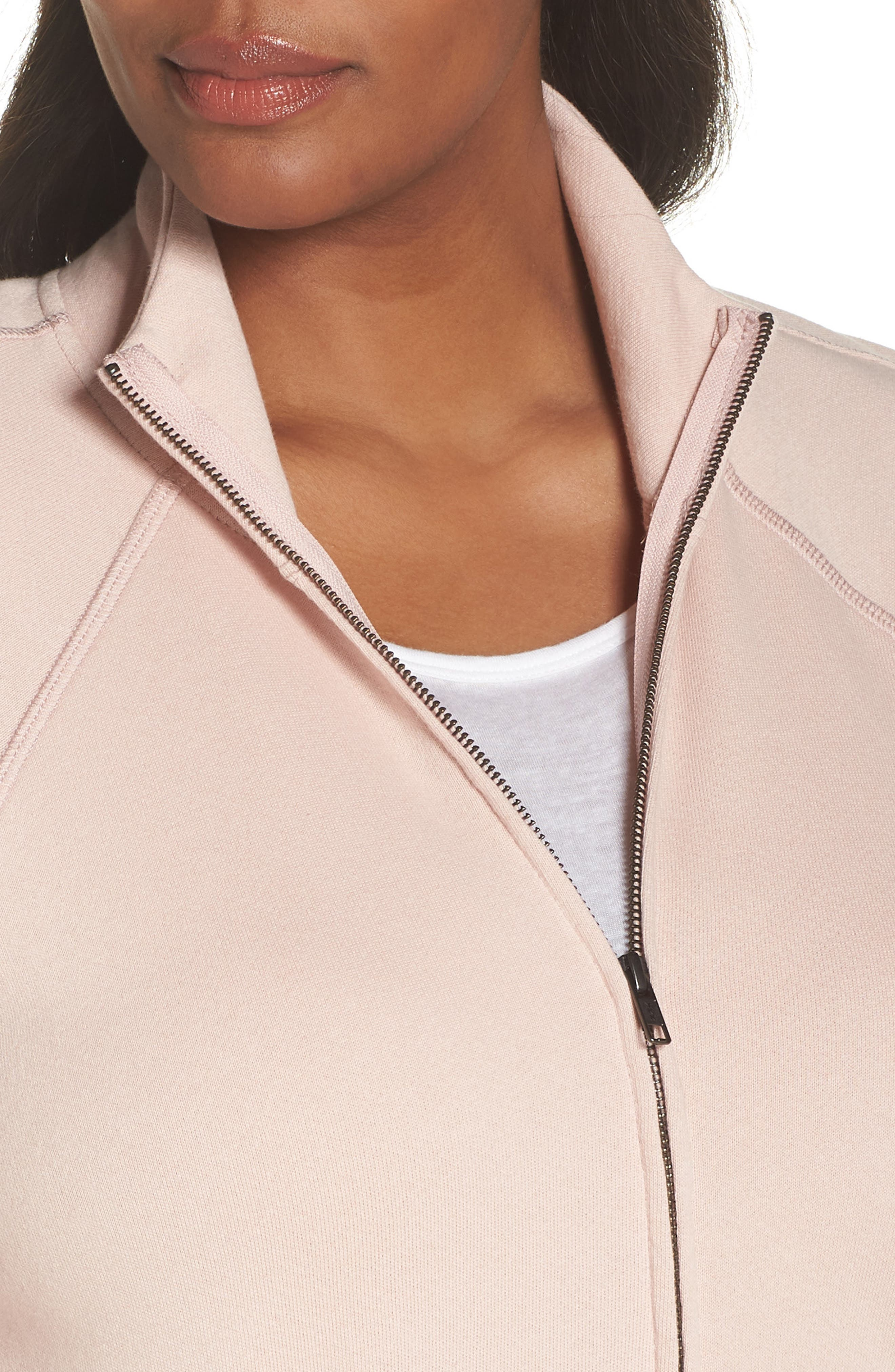 Off-Duty Knit Track Jacket,                             Alternate thumbnail 4, color,                             Pink Smoke