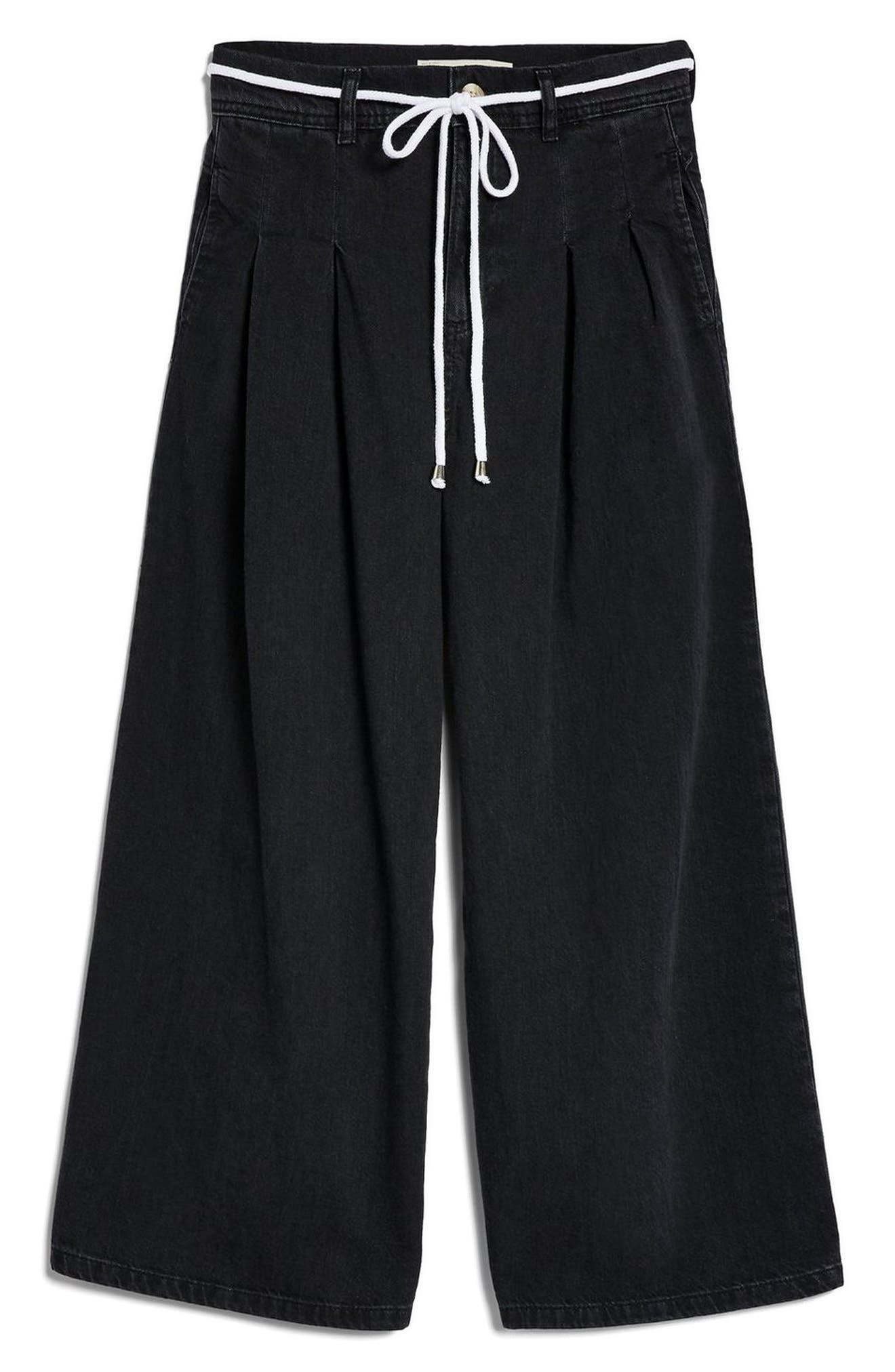 MOTO Pleated Tie Crop Jeans,                             Alternate thumbnail 3, color,                             Washed Black