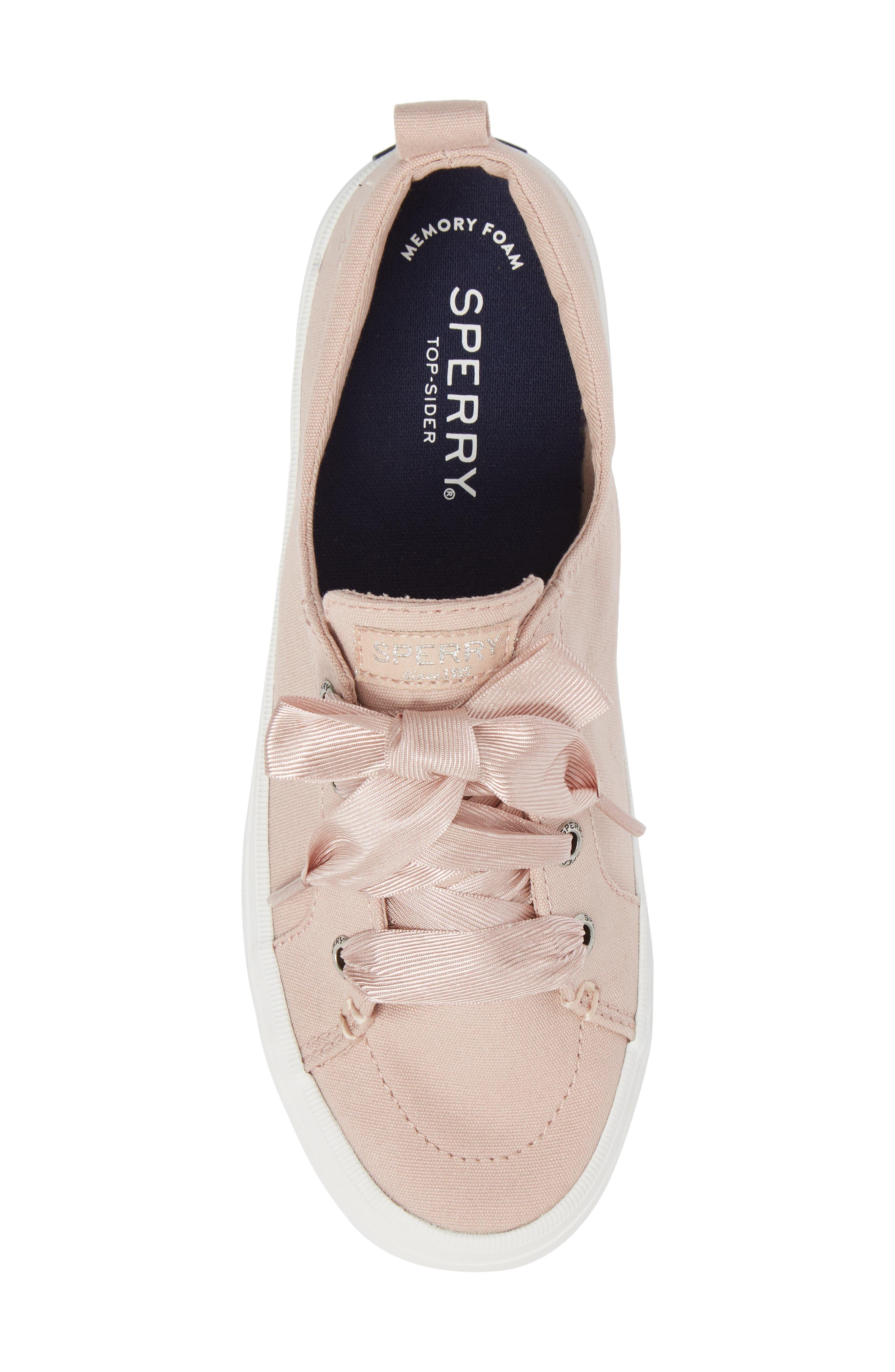 Crest Vibe Satin Lace Sneaker,                             Alternate thumbnail 5, color,                             Rose Dust Canvas