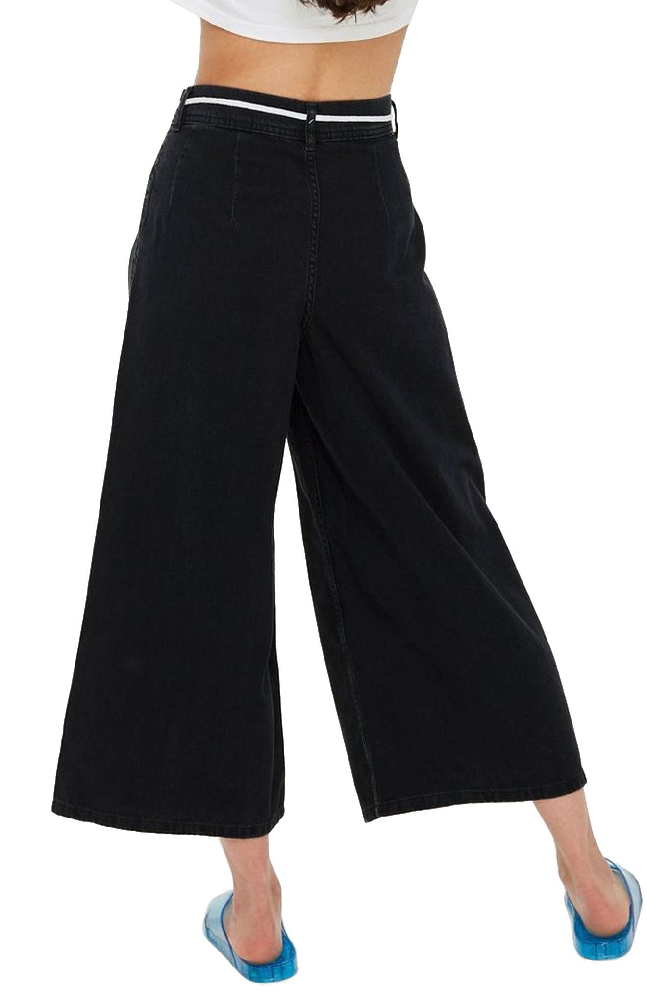 MOTO Pleated Tie Crop Jeans,                             Alternate thumbnail 2, color,                             Washed Black