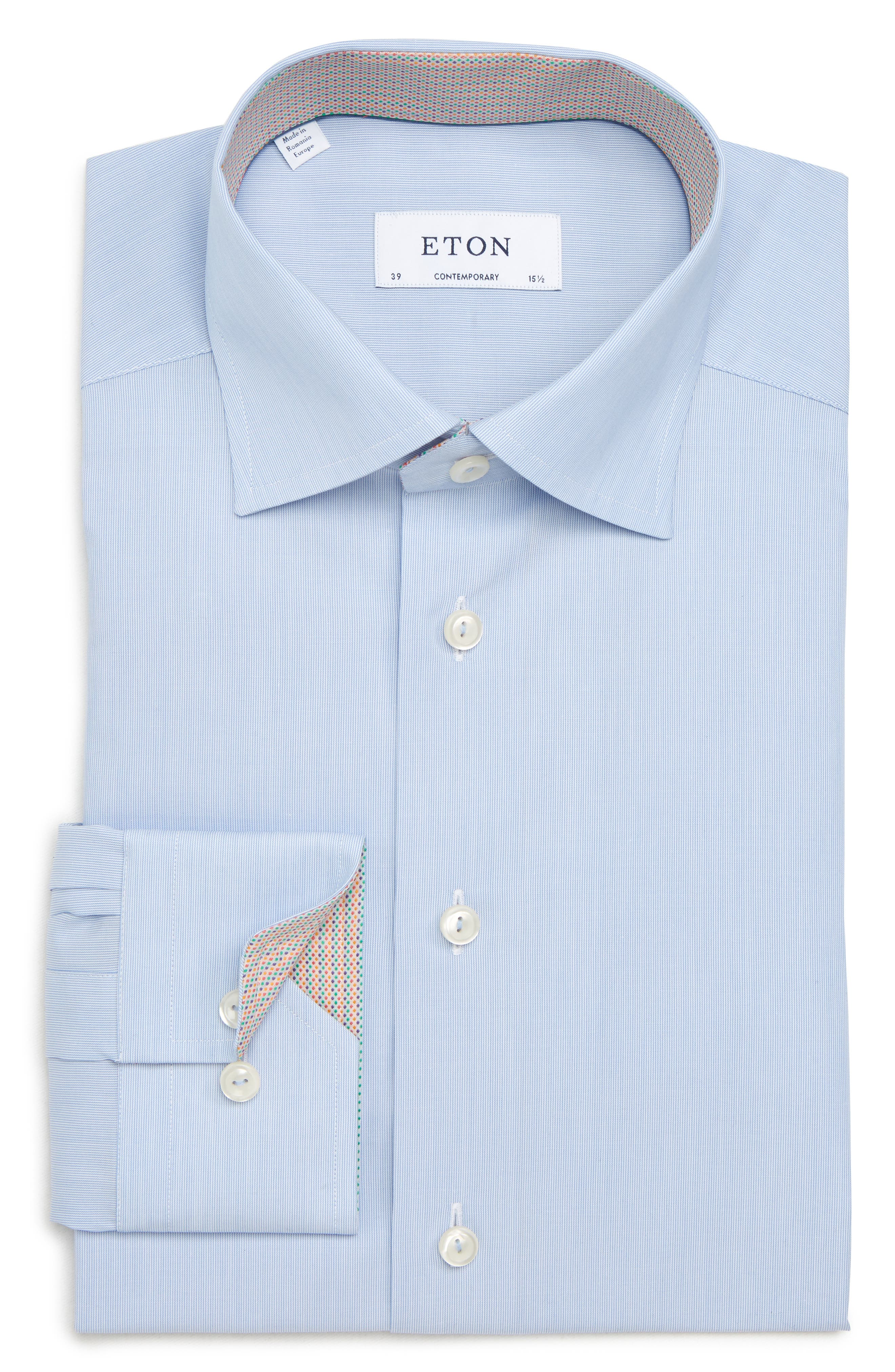 Contemporary Fit Solid Dress Shirt,                             Alternate thumbnail 6, color,                             Blue