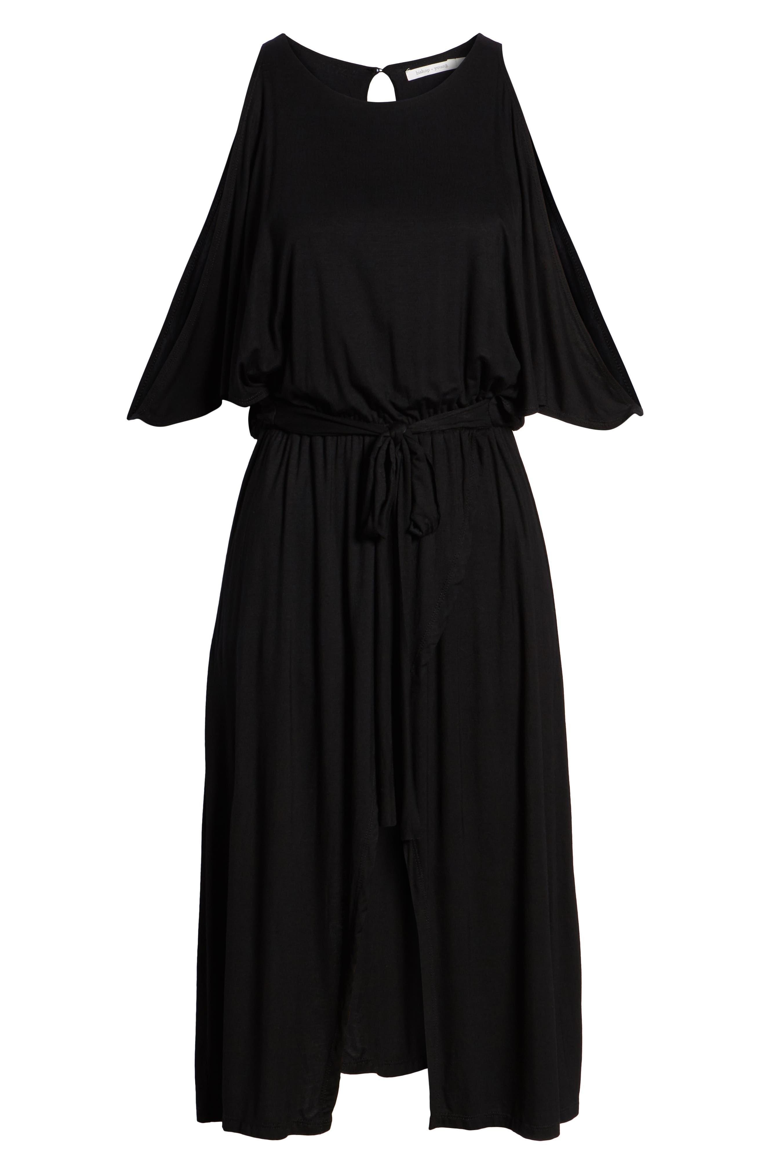 Bishop + Young Slit Sleeve Wrap Style Dress,                             Alternate thumbnail 6, color,                             Black