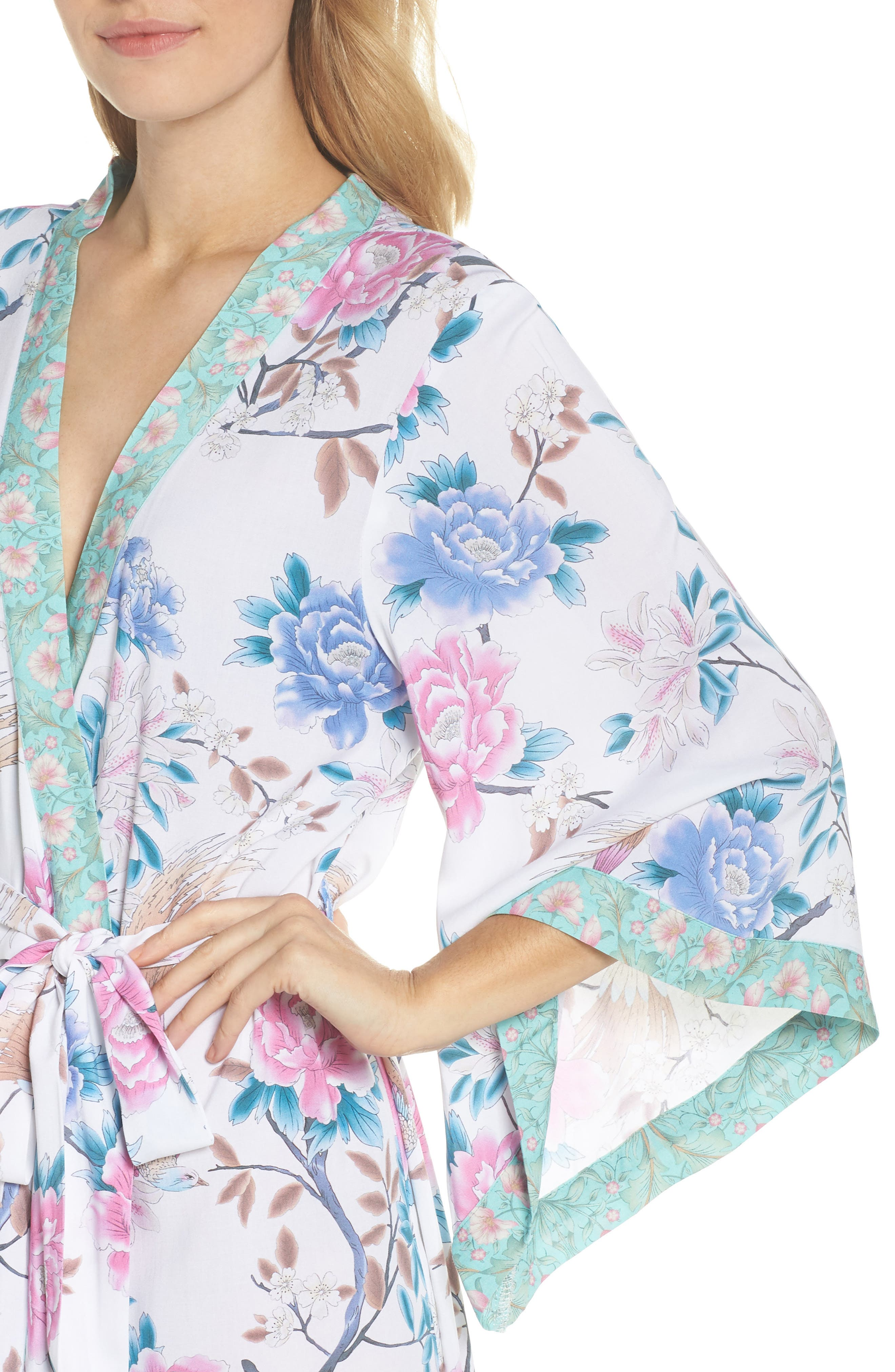 Talulah Boho Long Robe,                             Alternate thumbnail 4, color,                             Ivory Floral