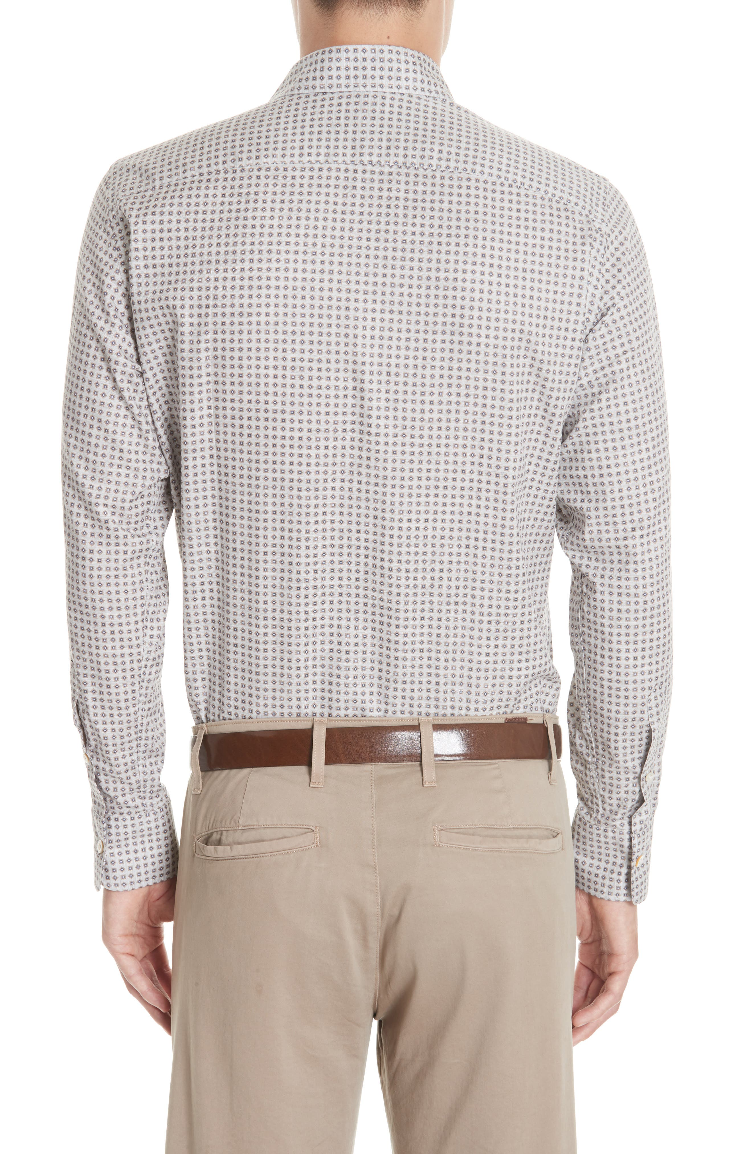 Regular Fit Print Sport Shirt,                             Alternate thumbnail 3, color,                             Beige