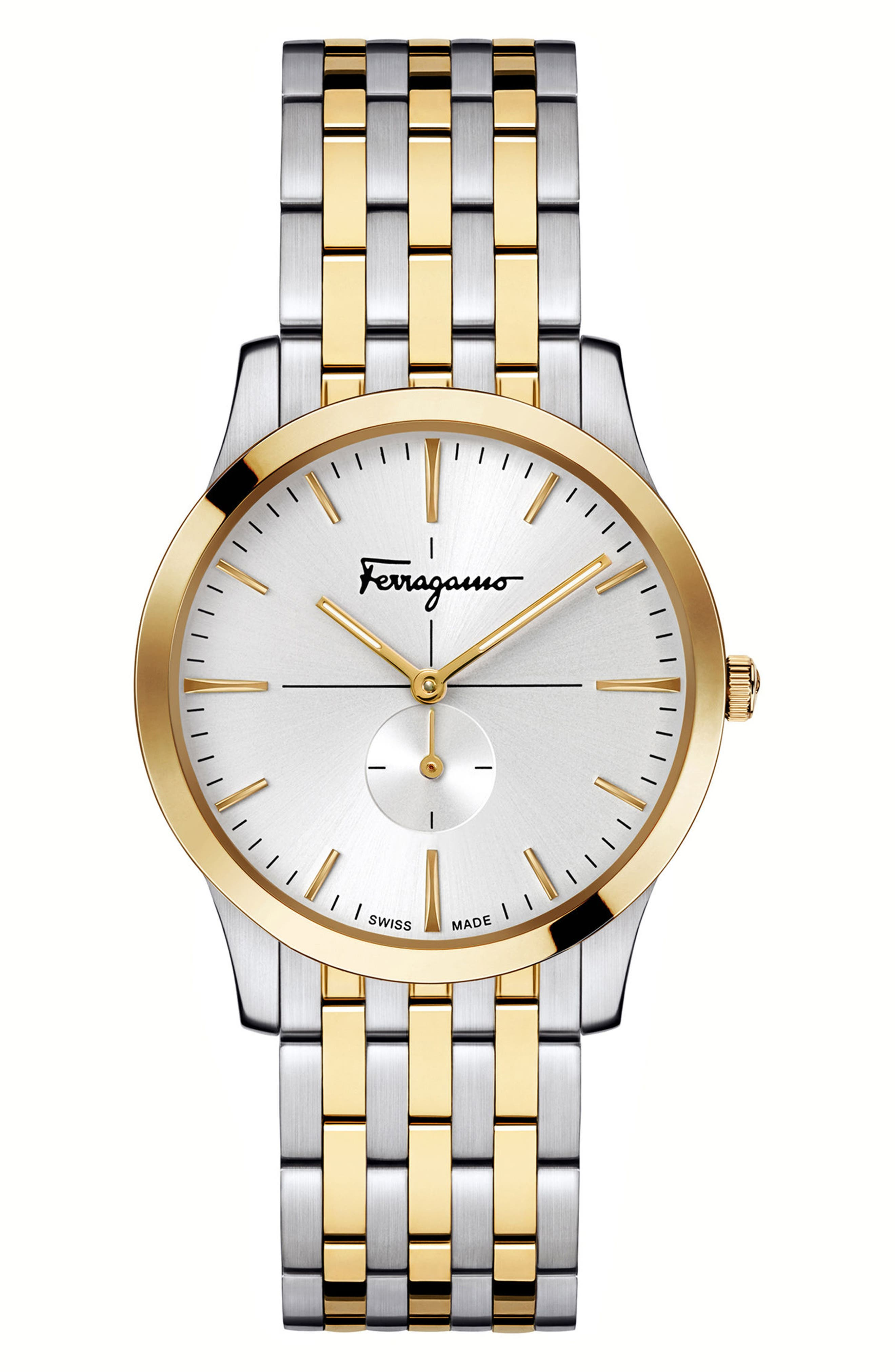 Slim Formal Bracelet Watch, 35mm,                             Main thumbnail 1, color,                             Silver/ White/ Gold