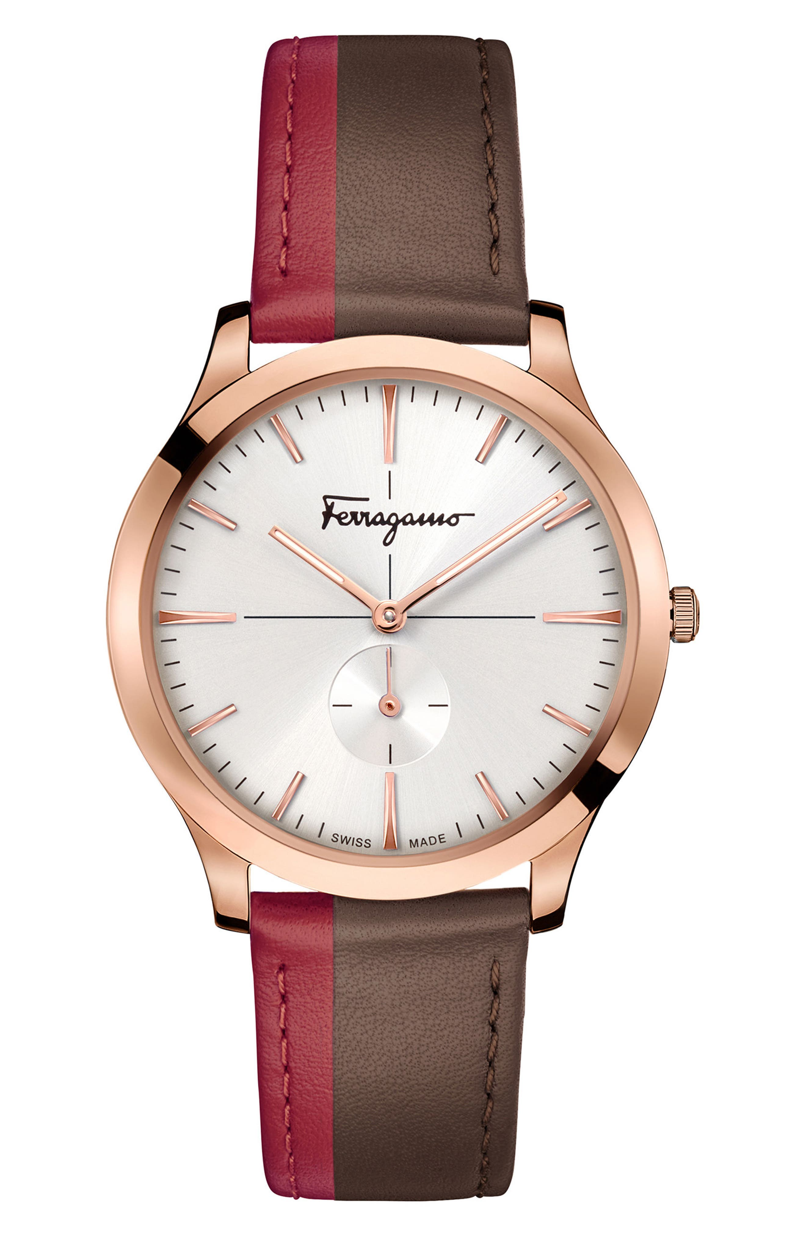 Slim Formal Brown & Red Strap Watch, 40Mm in Red/ Brown/ Gold