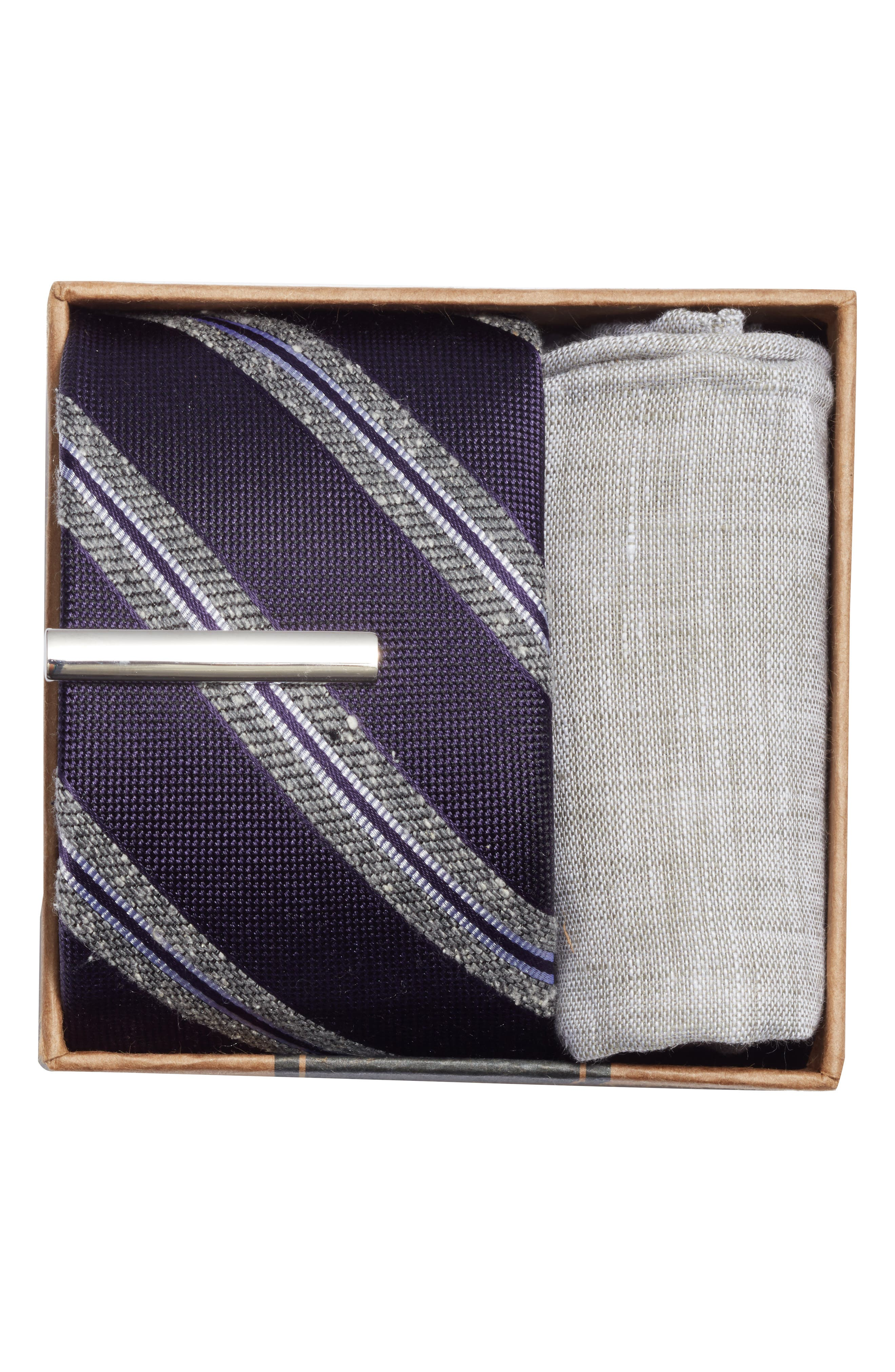 Edison Stripe 3-Piece Skinny Tie Style Box,                             Alternate thumbnail 2, color,                             Eggplant