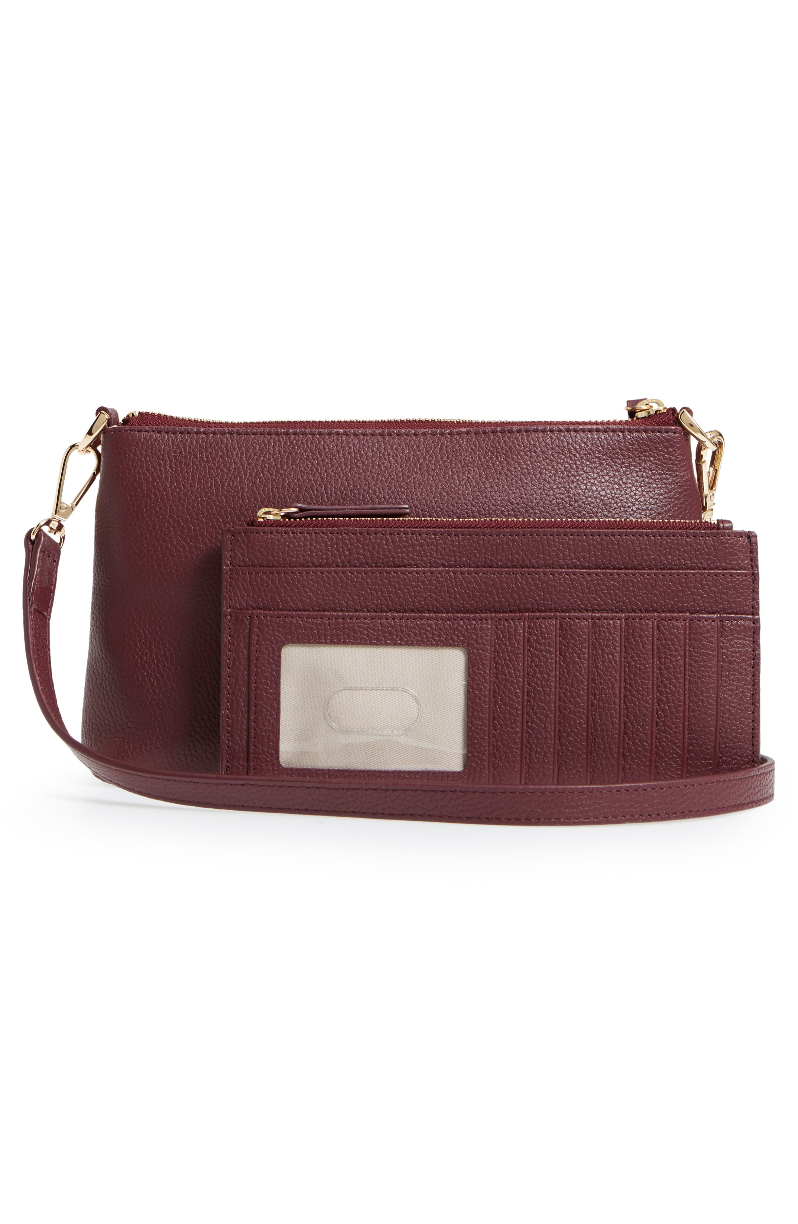 Brixton Convertible Leather Crossbody Bag with Pop-Out Card Holder,                             Alternate thumbnail 4, color,                             Burgundy London