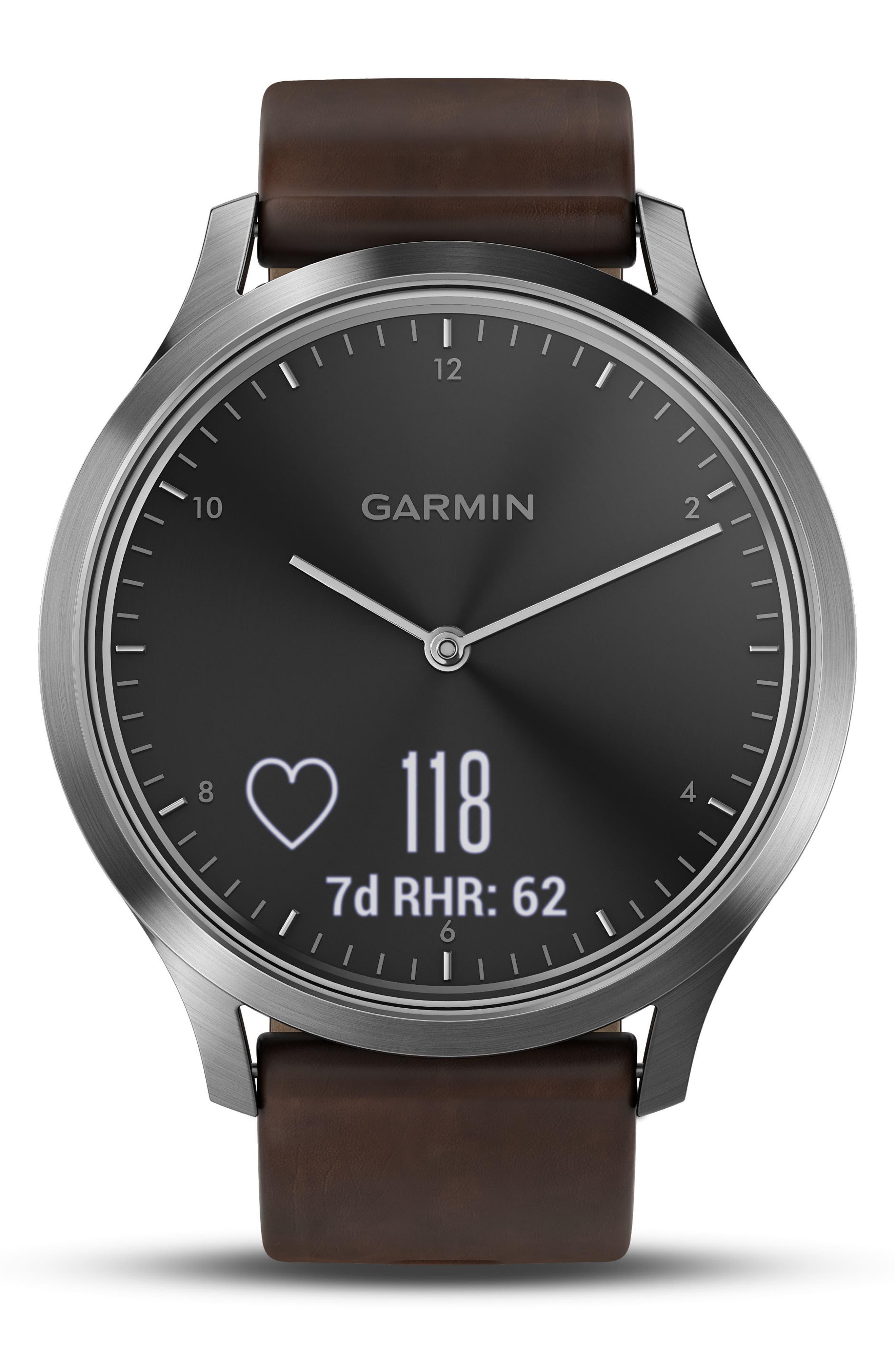 Vivomove HR Hybrid Smart Watch,                             Alternate thumbnail 3, color,                             Brown/ Black/ Silver