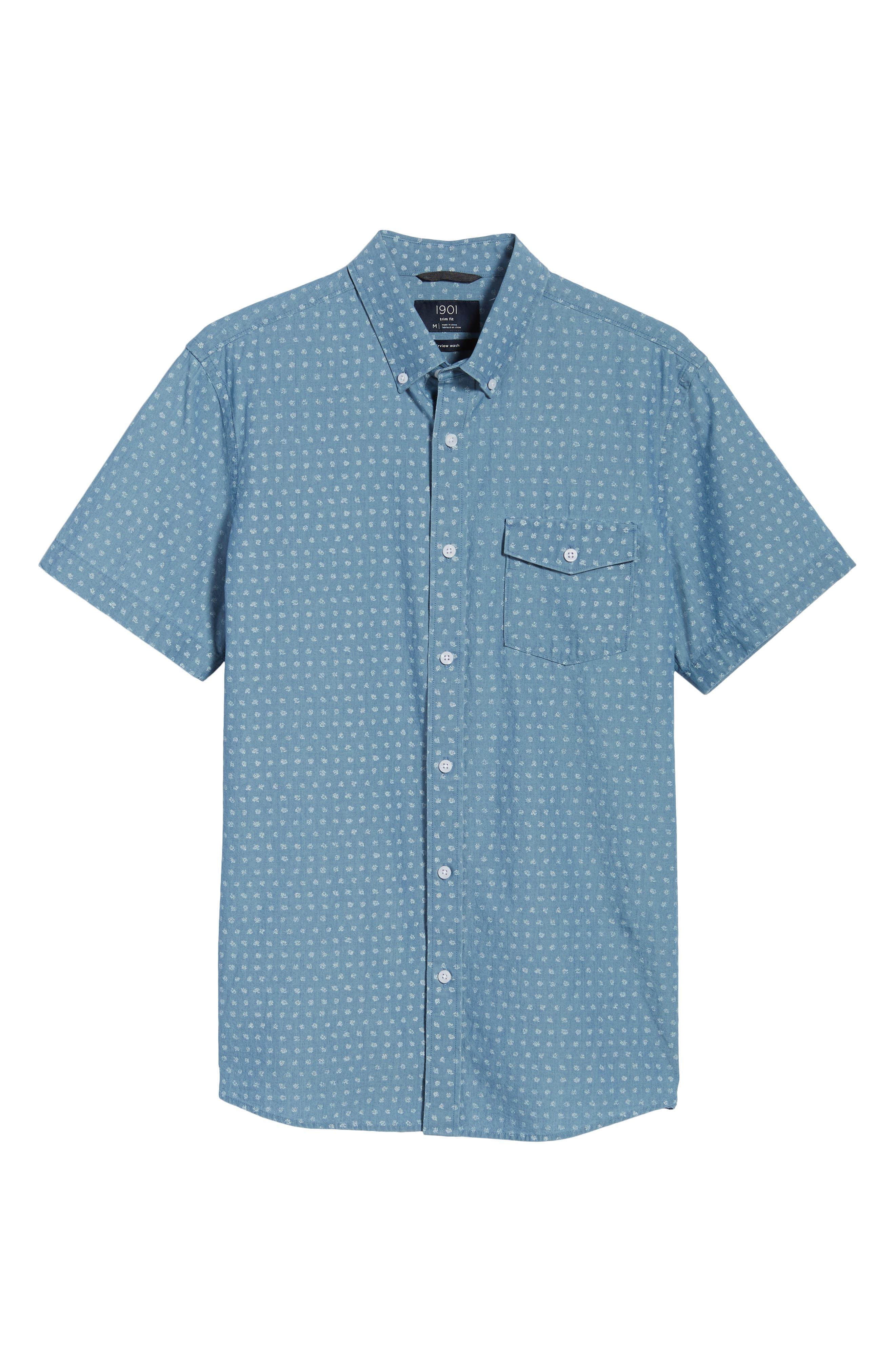 Ivy Trim Fit Dot Sport Shirt,                             Alternate thumbnail 6, color,                             Blue Chambray Blurred Dot