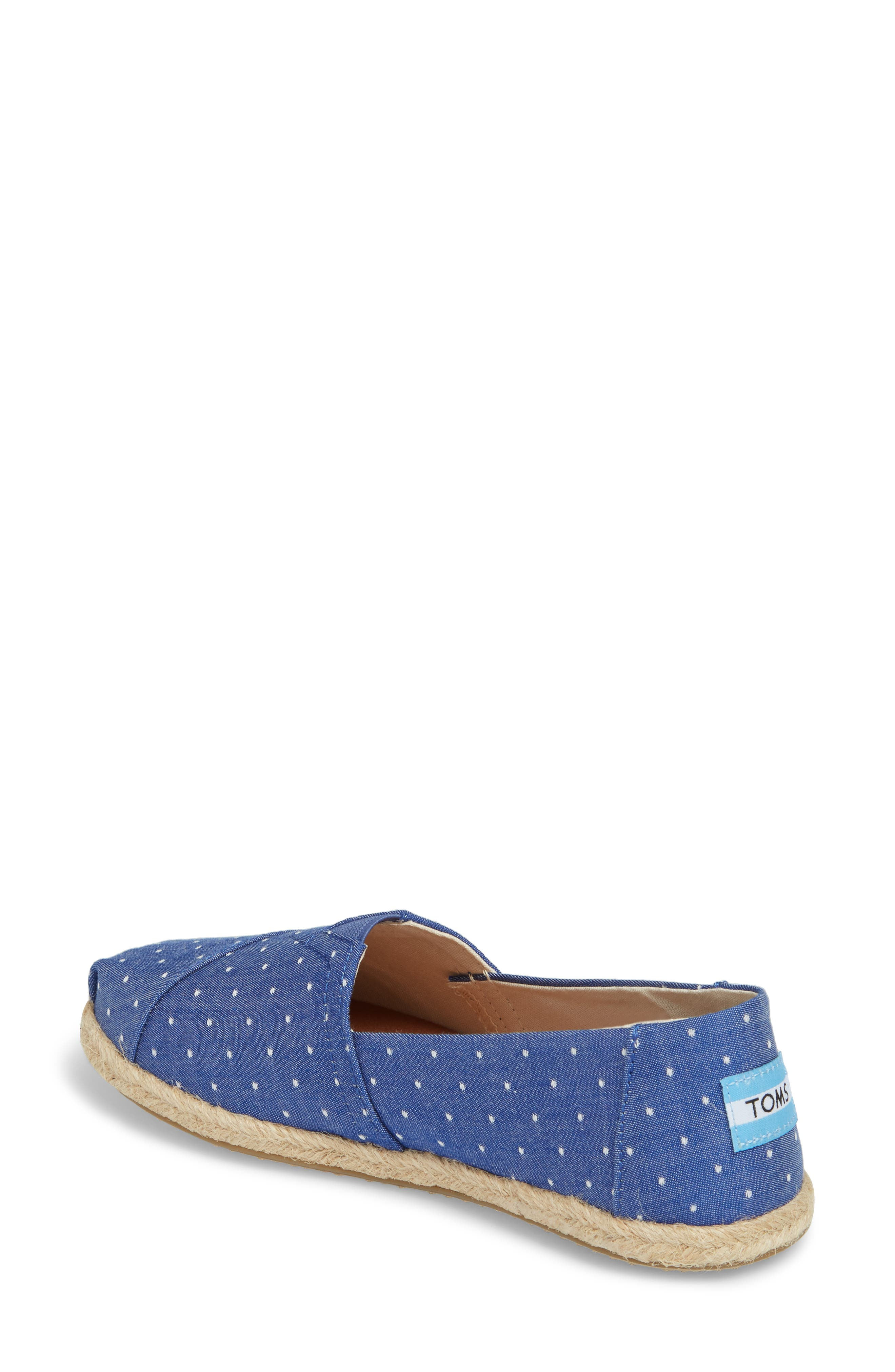 Deconstructed Alpargata Slip-On,                             Alternate thumbnail 2, color,                             Blue Dot Fabric