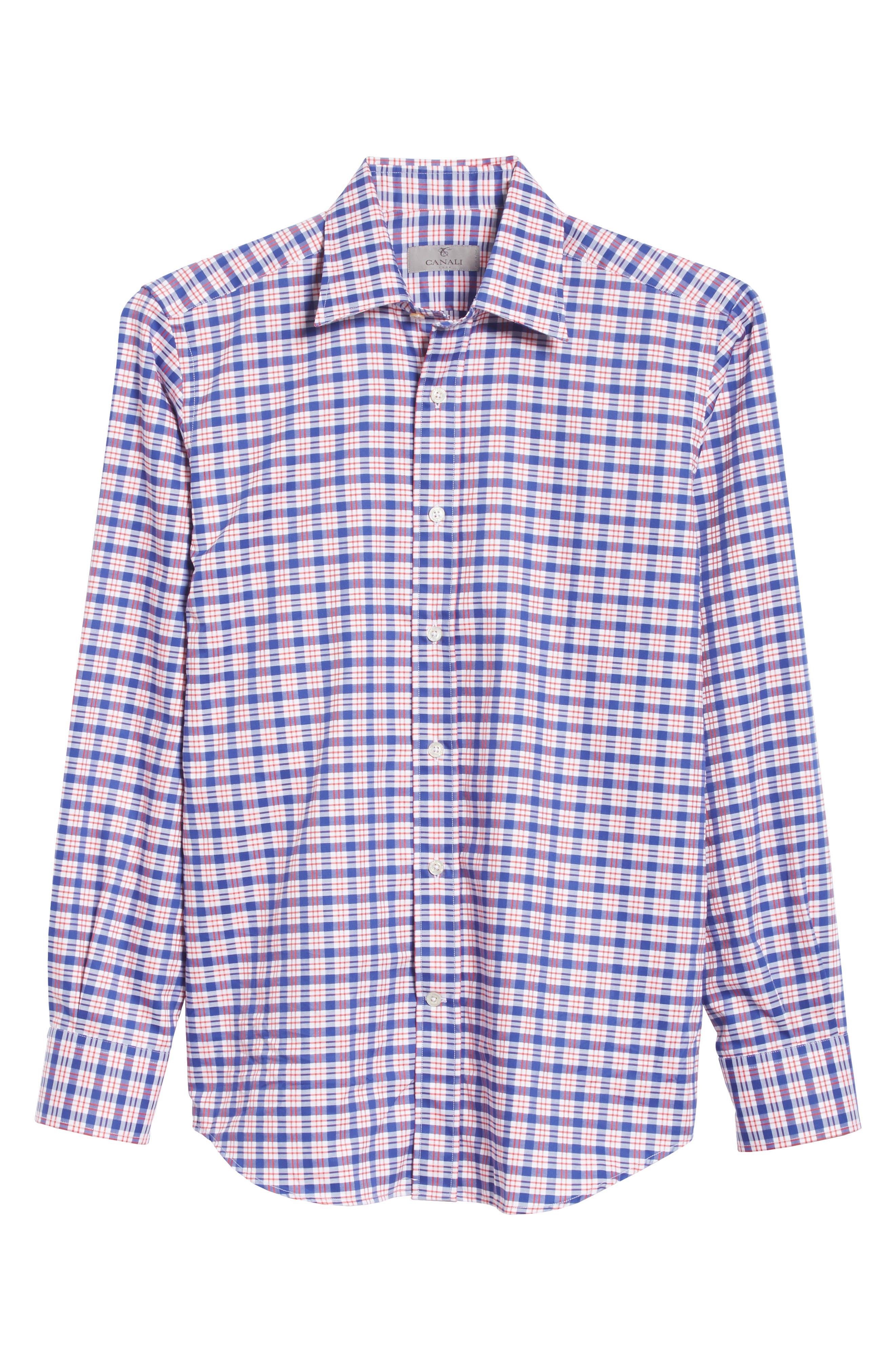 Regular Fit Plaid Sport Shirt,                             Alternate thumbnail 6, color,                             Red