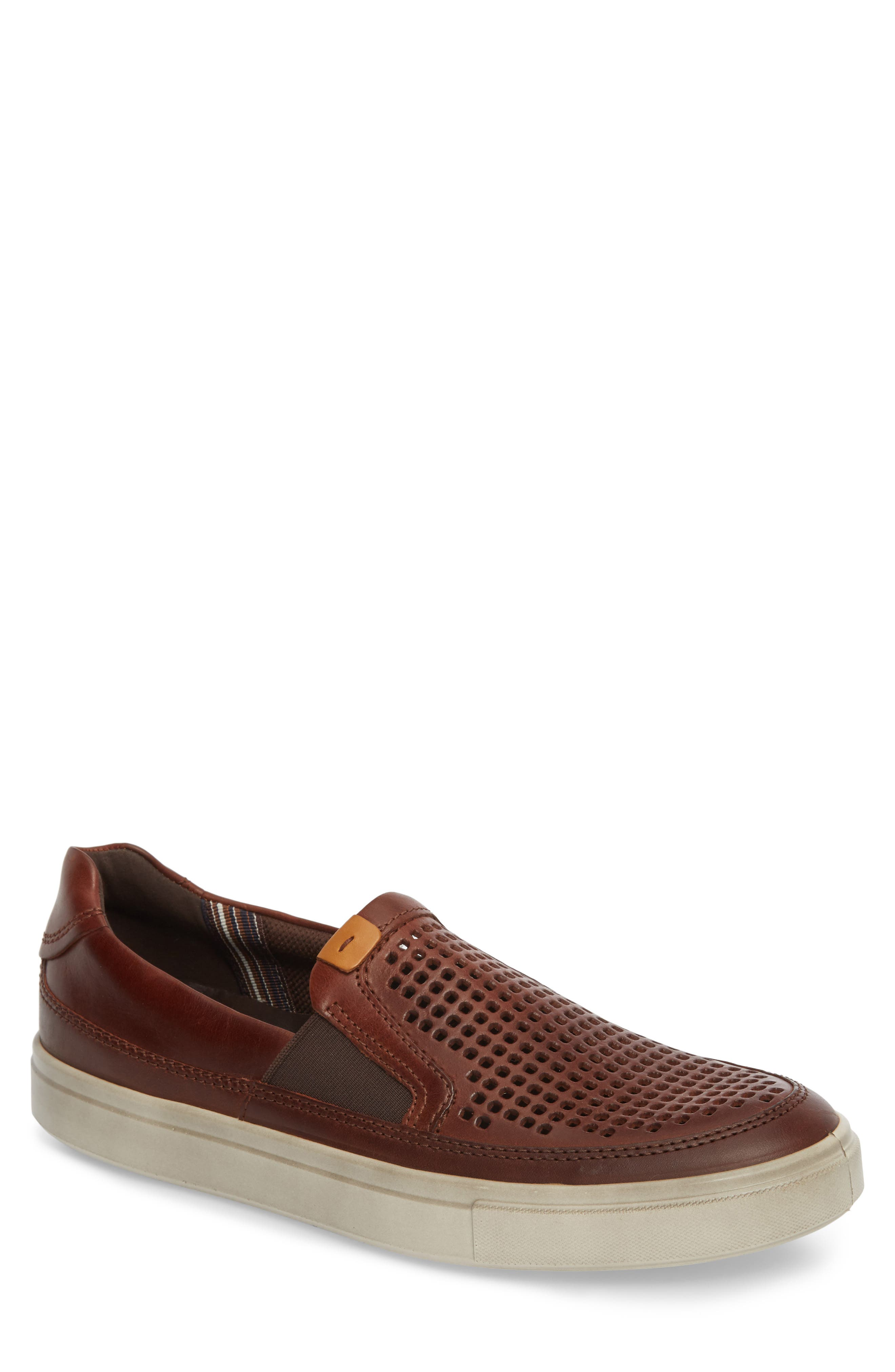 Kyle Perforated Slip-On Sneaker,                             Main thumbnail 1, color,                             Cognac Leather