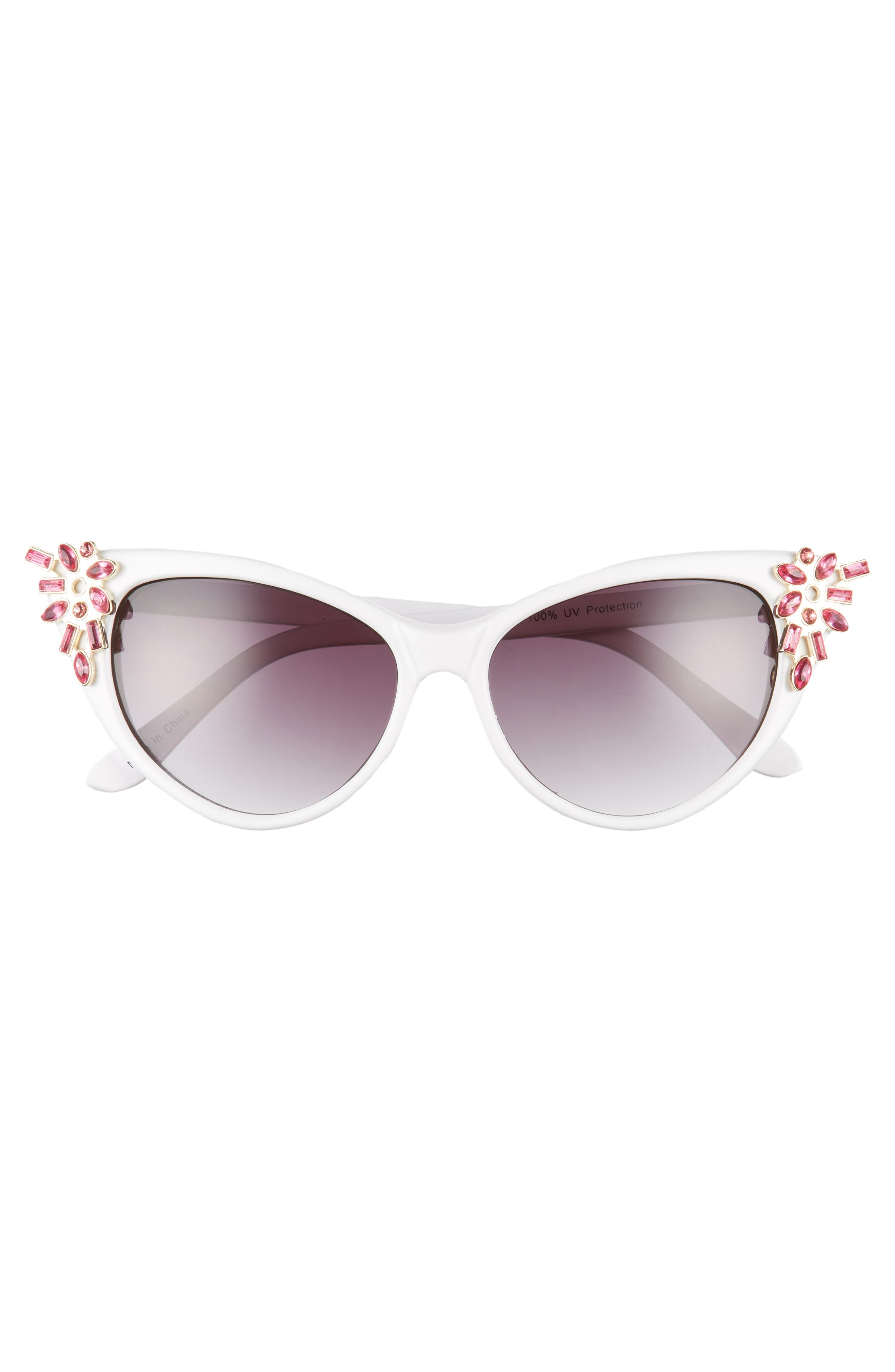 54mm Crystal Exaggerated Cat Eye Sunglasses,                             Alternate thumbnail 3, color,                             White/ Pink