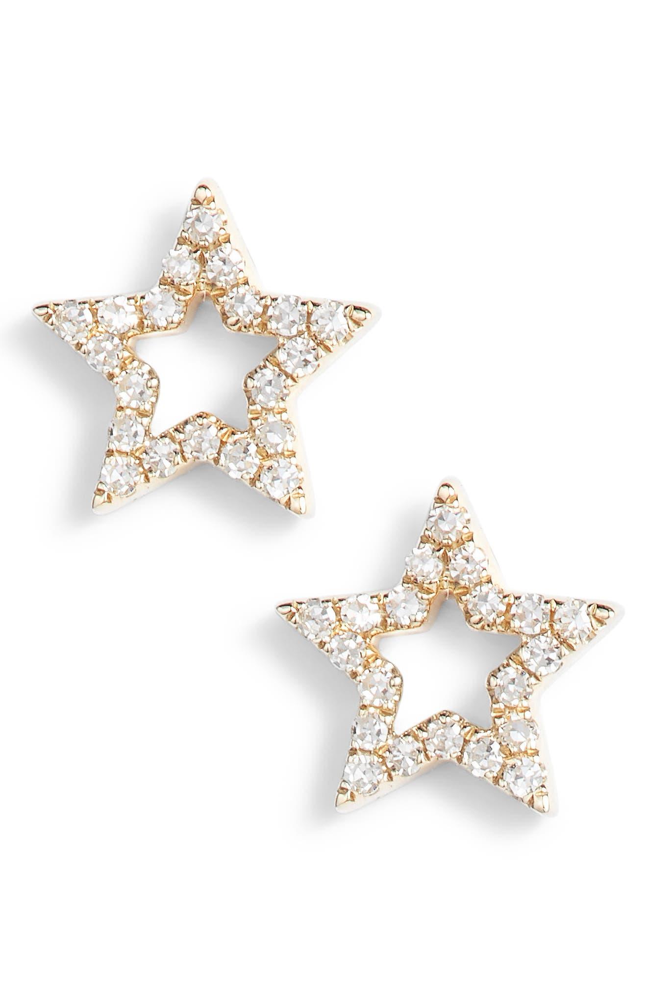 Open Star Diamond Stud Earrings,                         Main,                         color, Yellow Gold