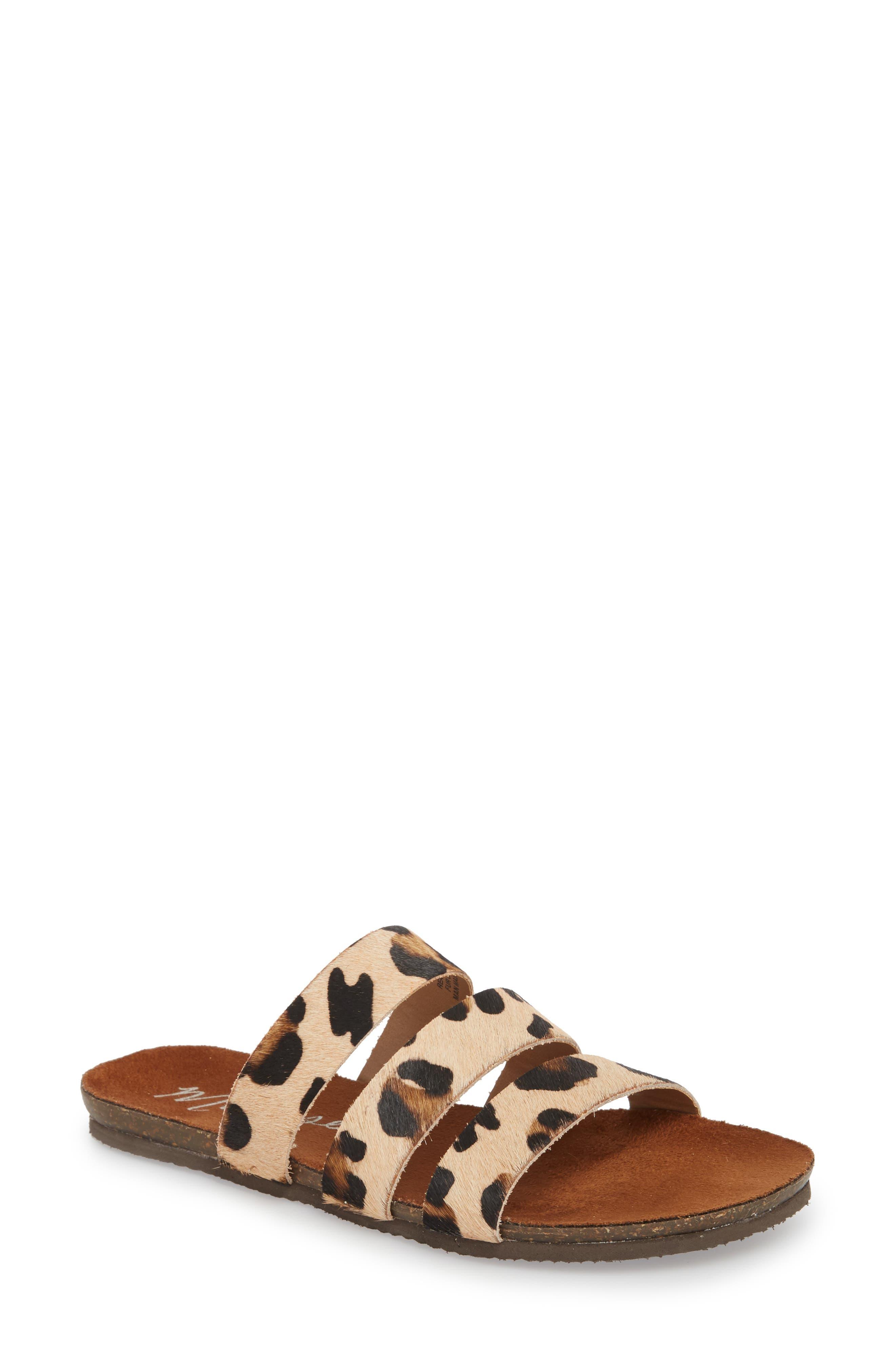 Florence Slide Sandal,                             Main thumbnail 1, color,                             Leopard Calf Hair