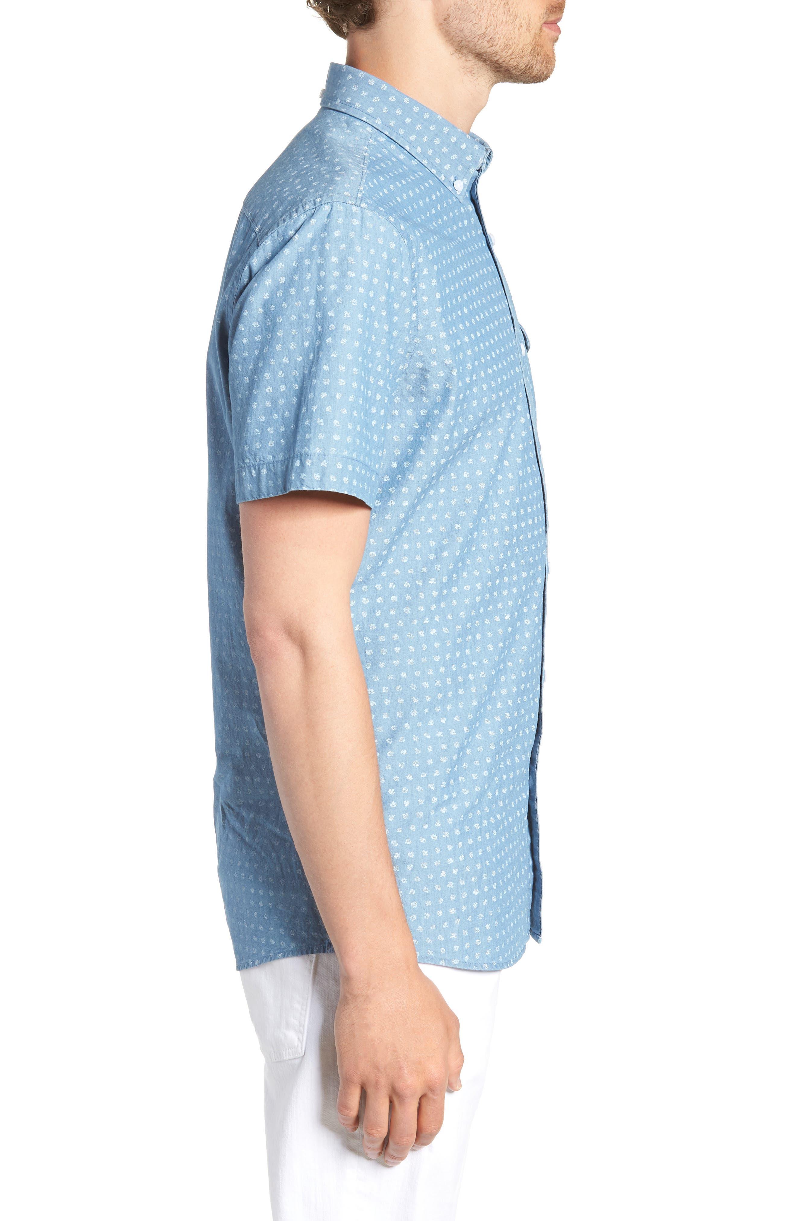 Ivy Trim Fit Dot Sport Shirt,                             Alternate thumbnail 4, color,                             Blue Chambray Blurred Dot