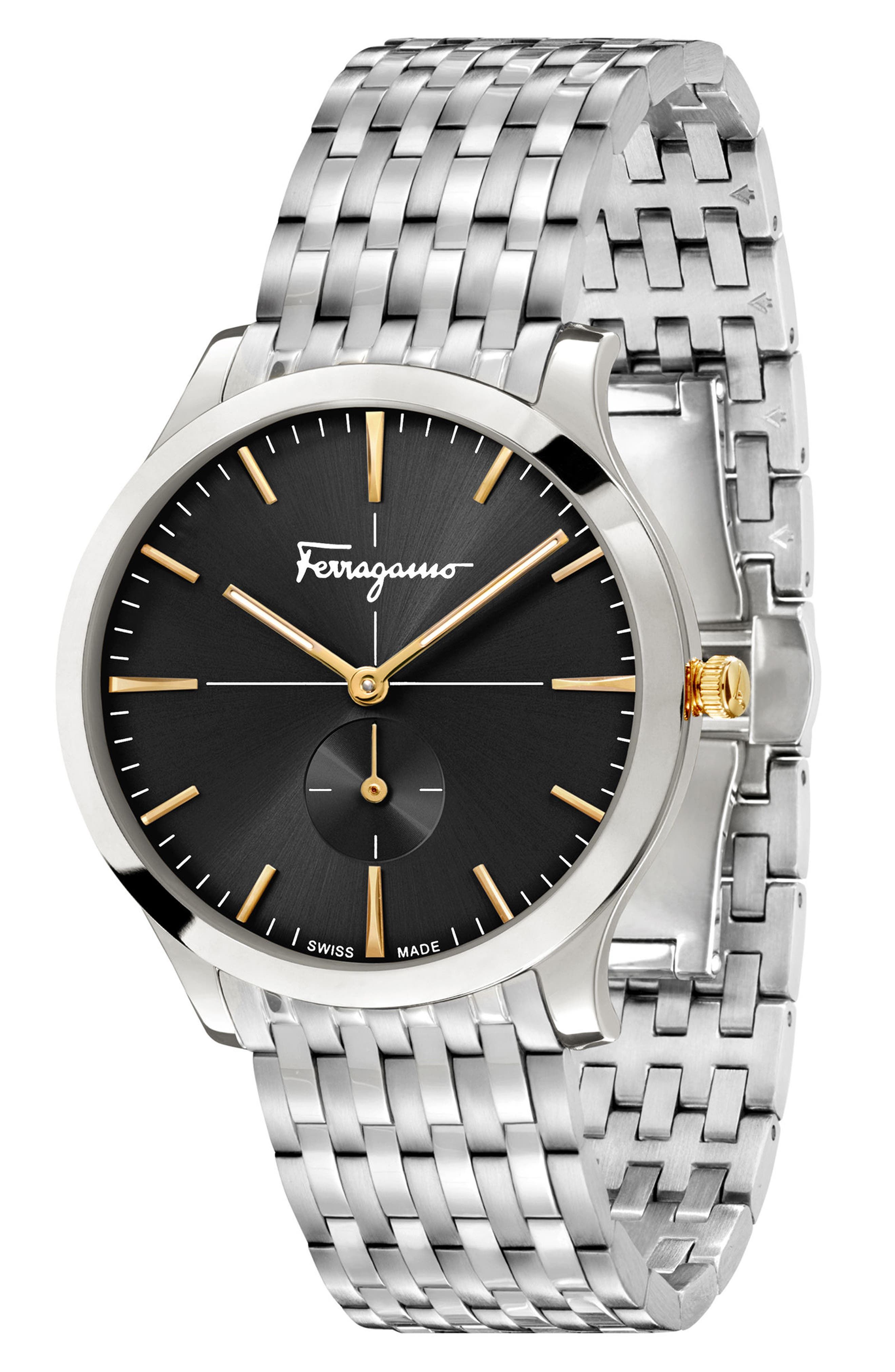 Slim Formal Bracelet Watch, 40mm,                             Alternate thumbnail 4, color,                             Silver/ Black/ Silver