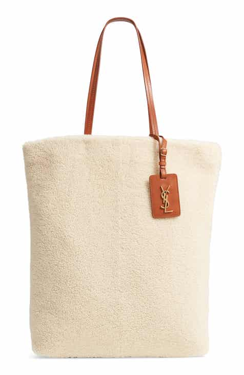 991cf1f4e0bc Saint Laurent Genuine Shearling Shopping Tote