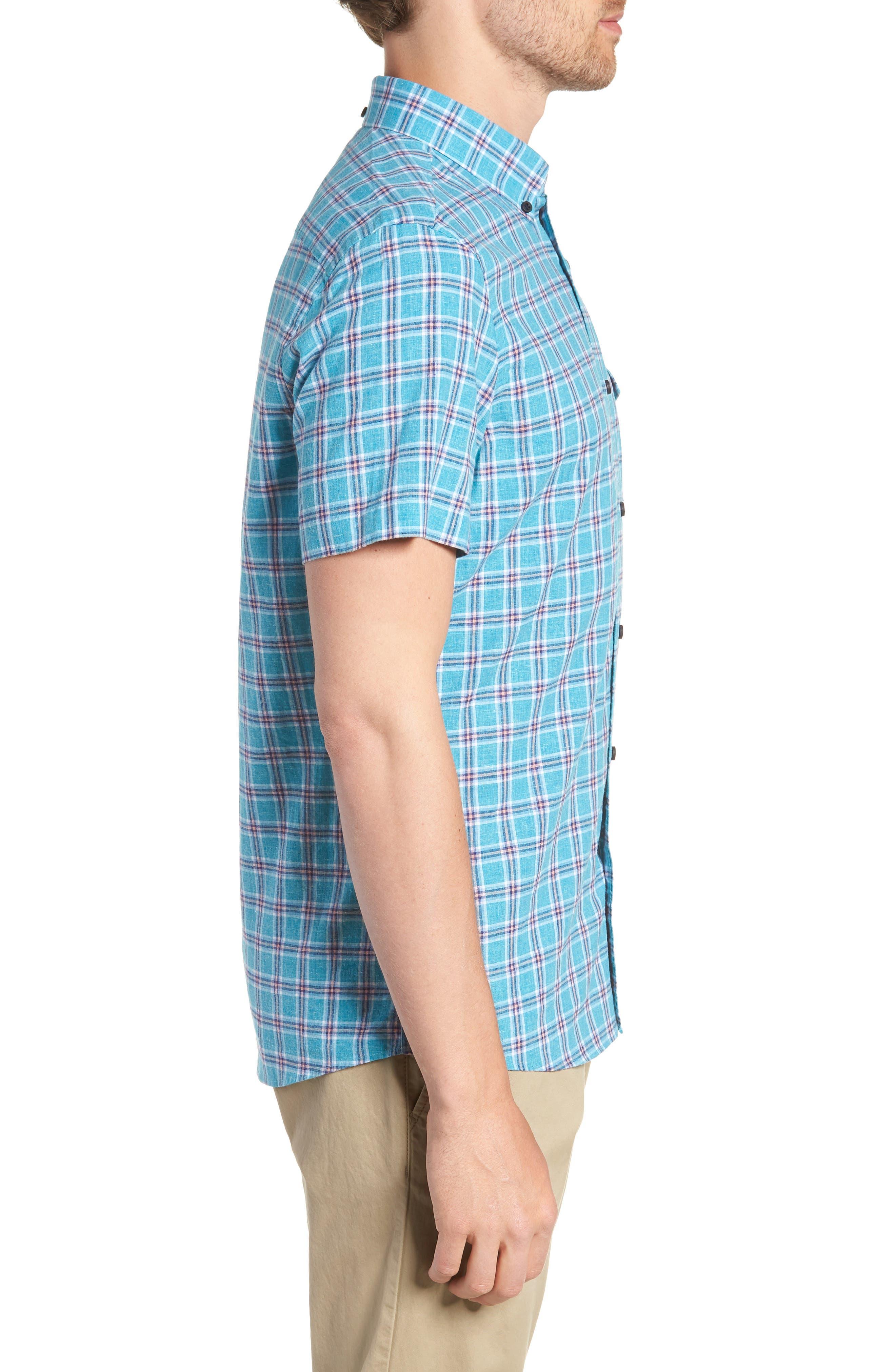 Ivy Trim Fit Plaid Cotton & Linen Sport Shirt,                             Alternate thumbnail 4, color,                             Teal Mosaic Linen Check