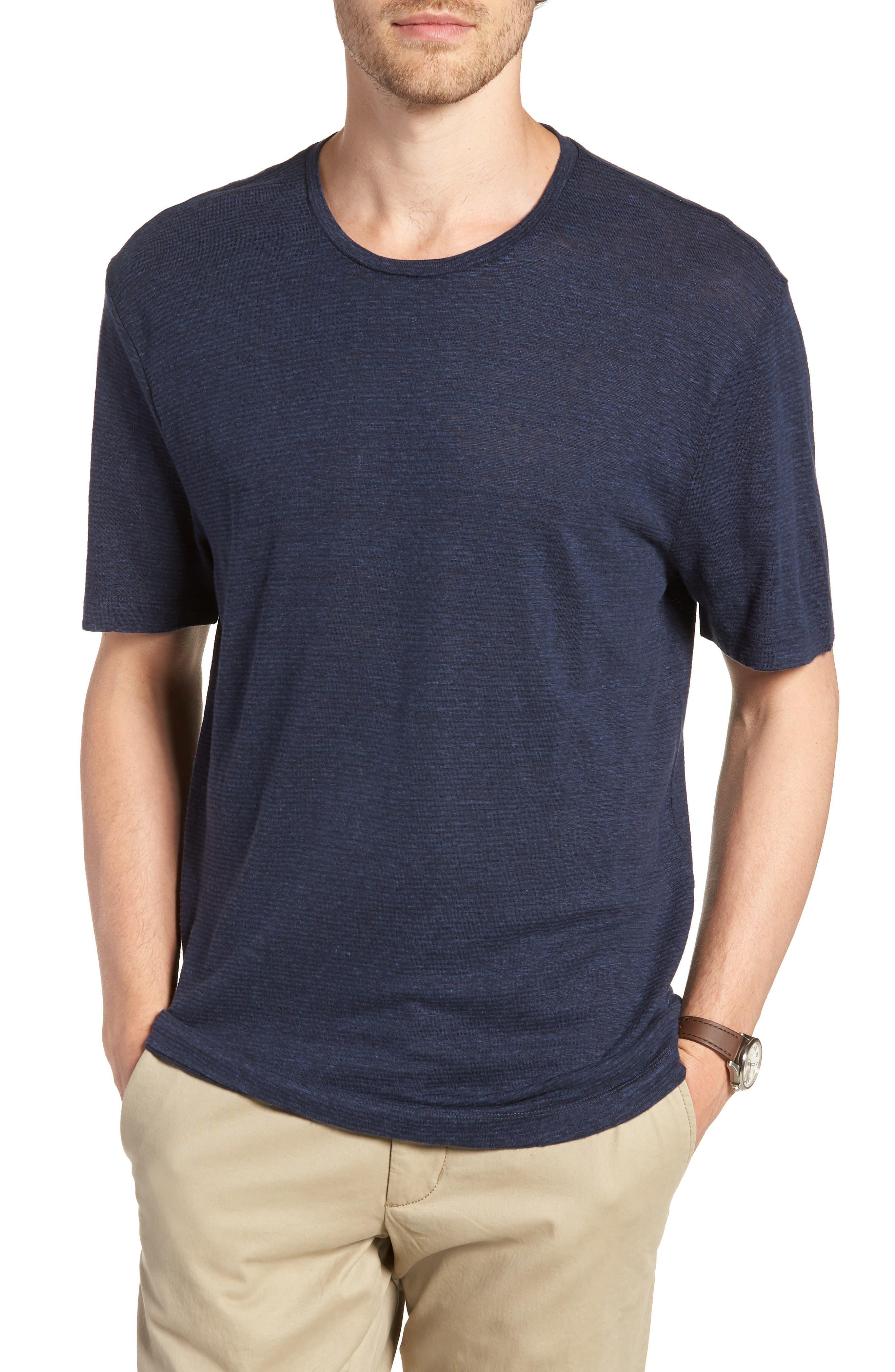 Linen Blend Jersey T-Shirt,                             Main thumbnail 1, color,                             Navy Iris Heather