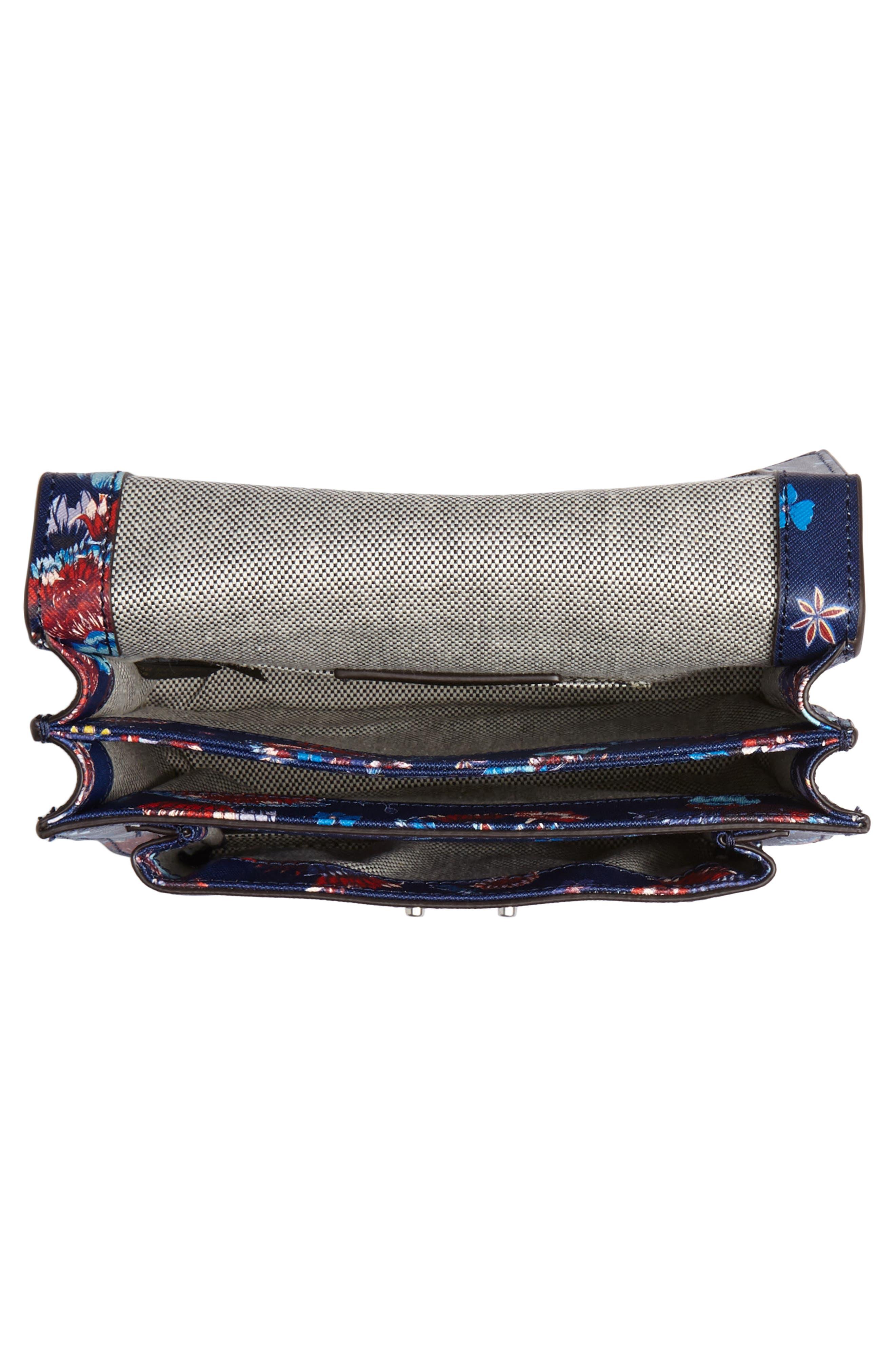 Small Christy Print Leather Shoulder Bag,                             Alternate thumbnail 4, color,                             Floral Blue