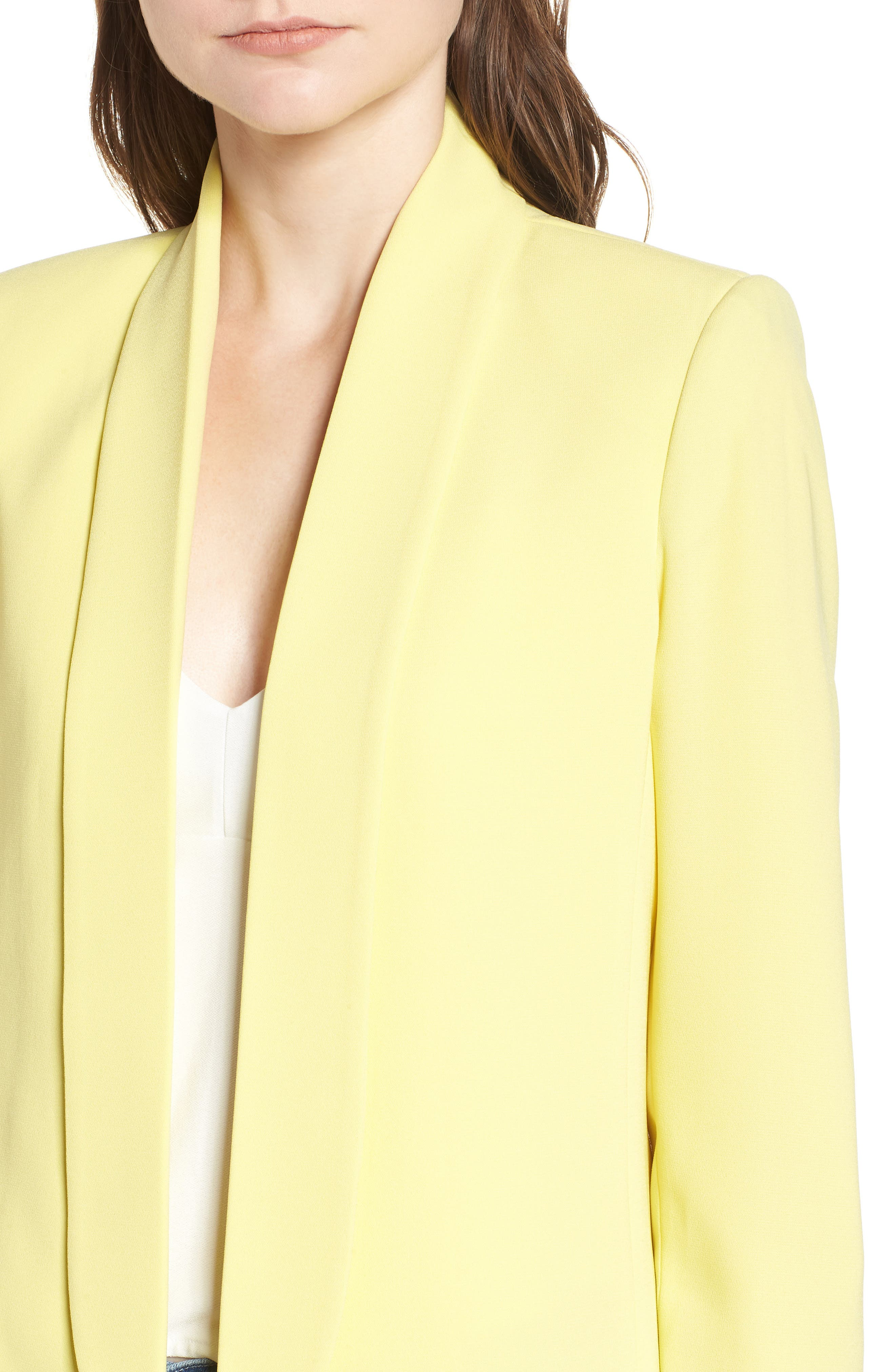 Slouchy Boyfriend Blazer,                             Alternate thumbnail 4, color,                             Yellow Canary