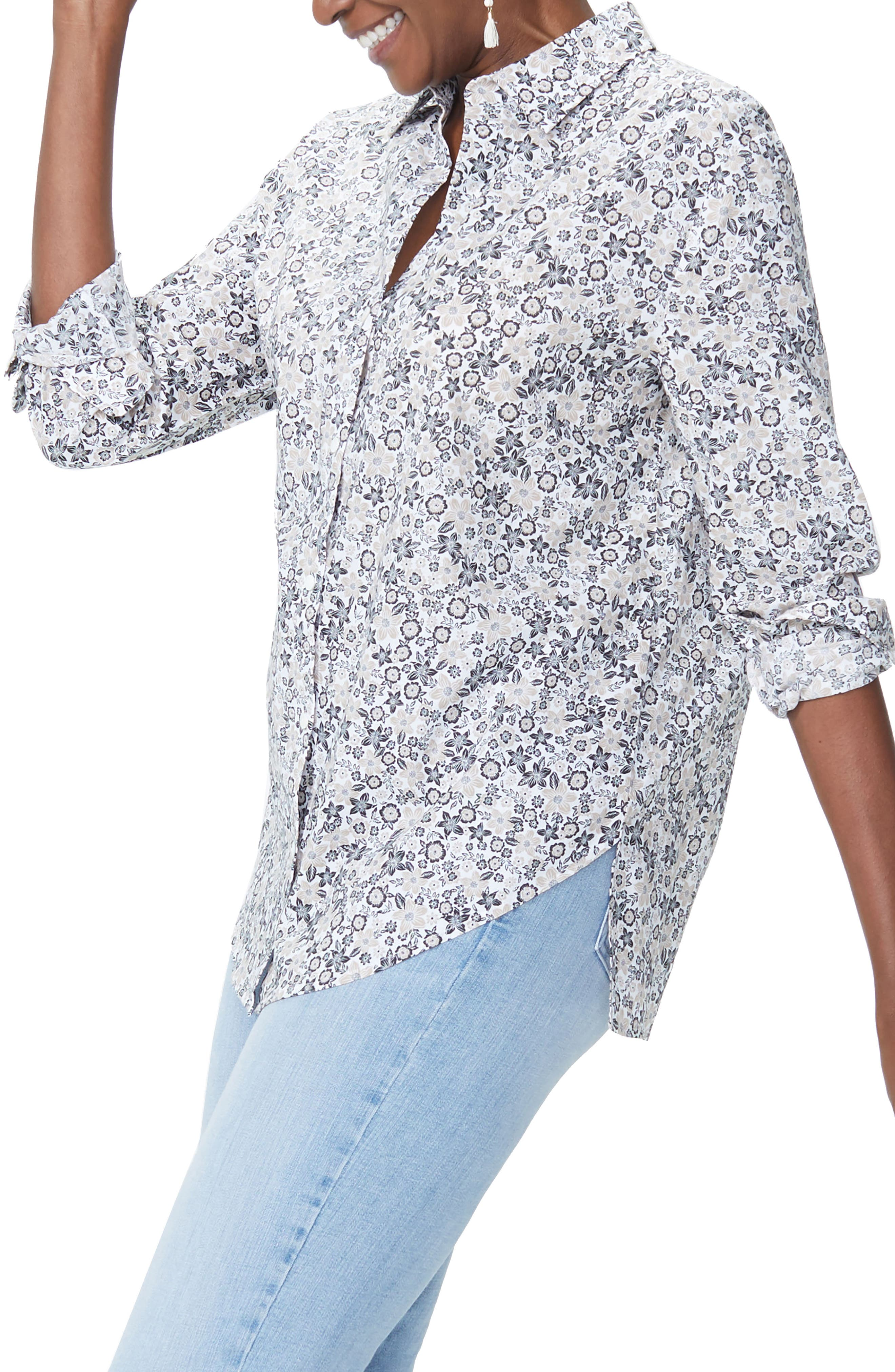 Classic Cotton Lawn Blouse,                             Alternate thumbnail 3, color,                             Pacific Ditsy Pale Oak