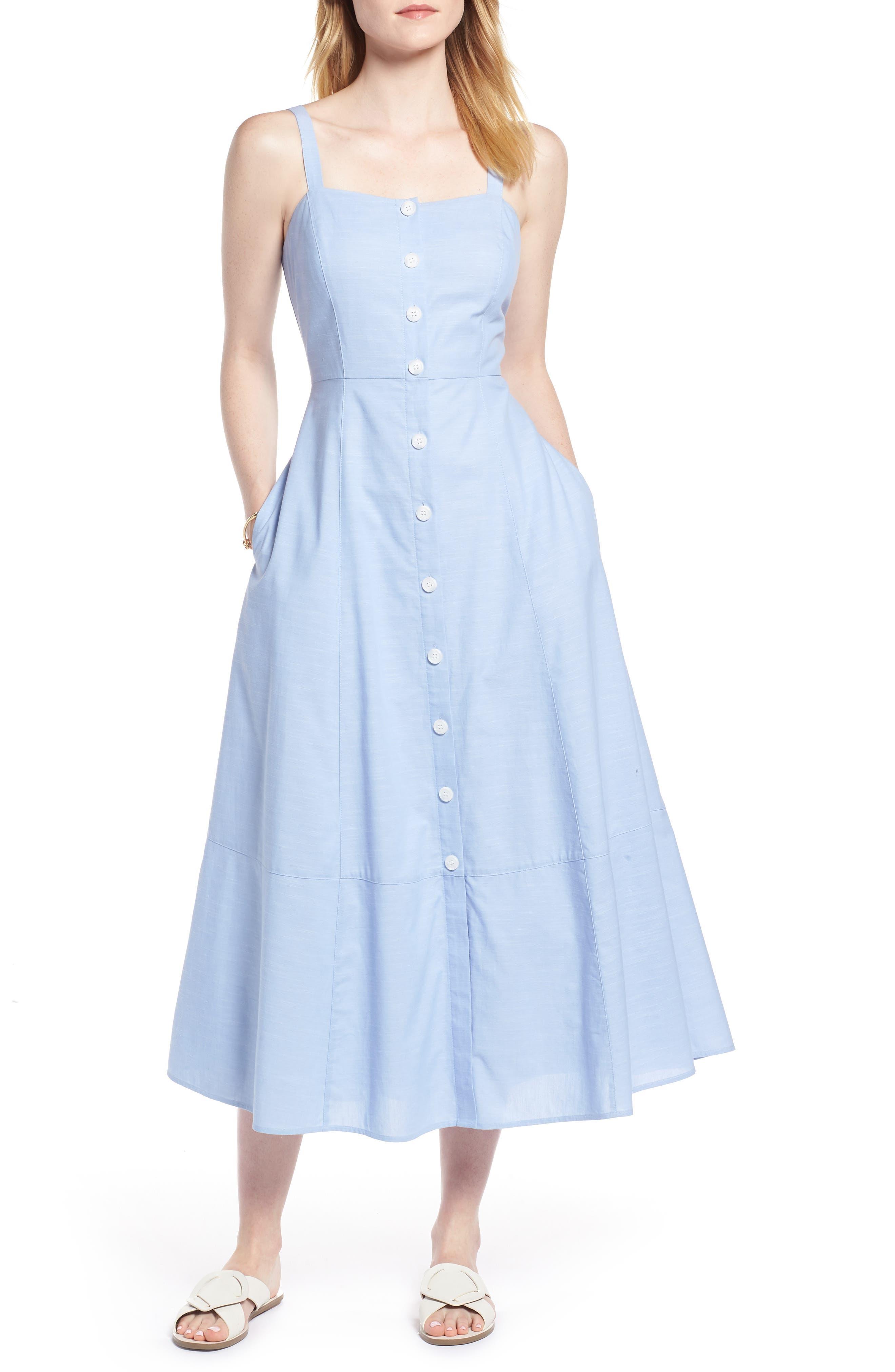Button Front Chambray Cotton Dress,                             Main thumbnail 1, color,                             Chambray