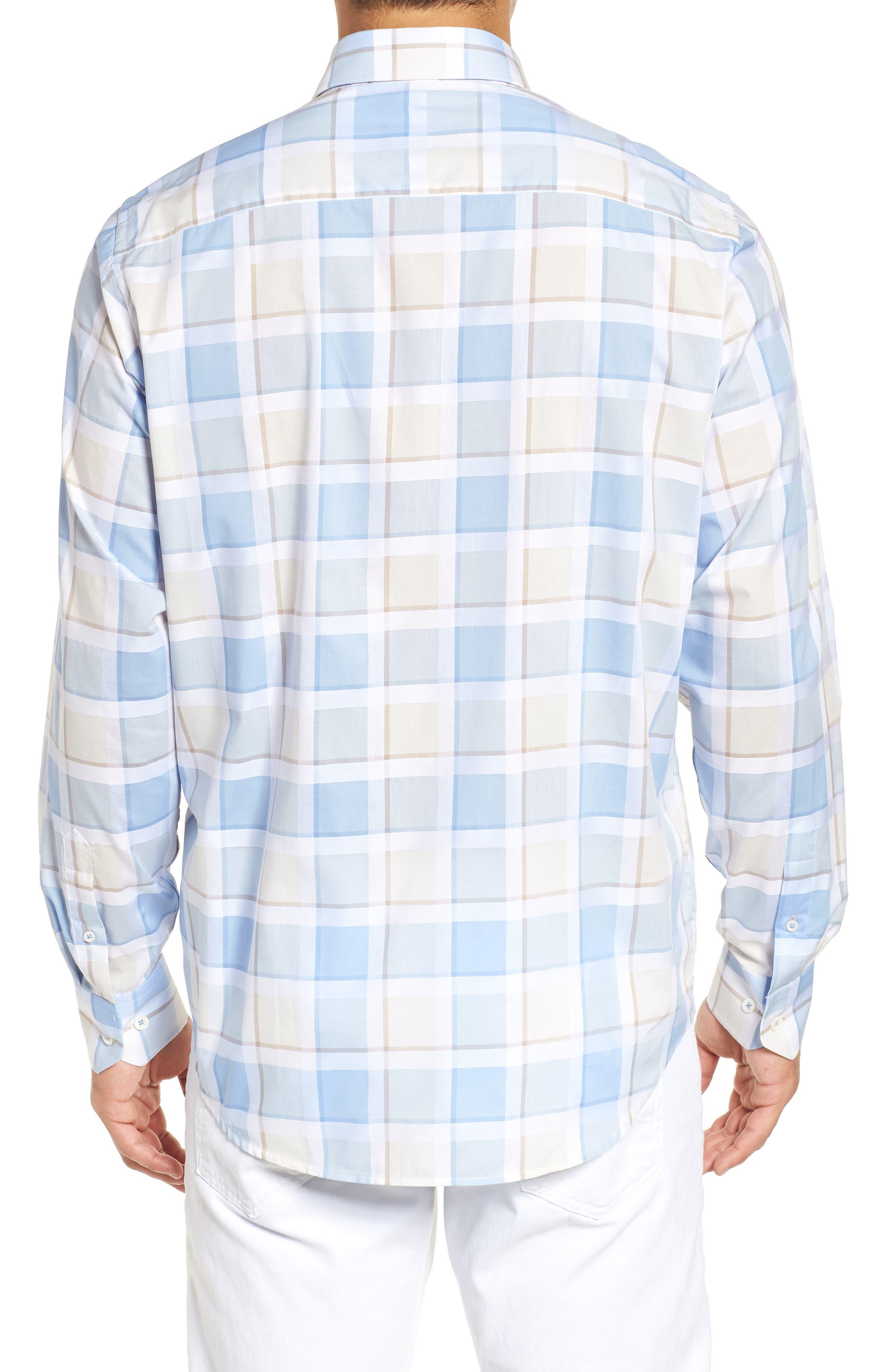 Classic Fit Plaid Sport Shirt,                             Alternate thumbnail 3, color,                             Sky