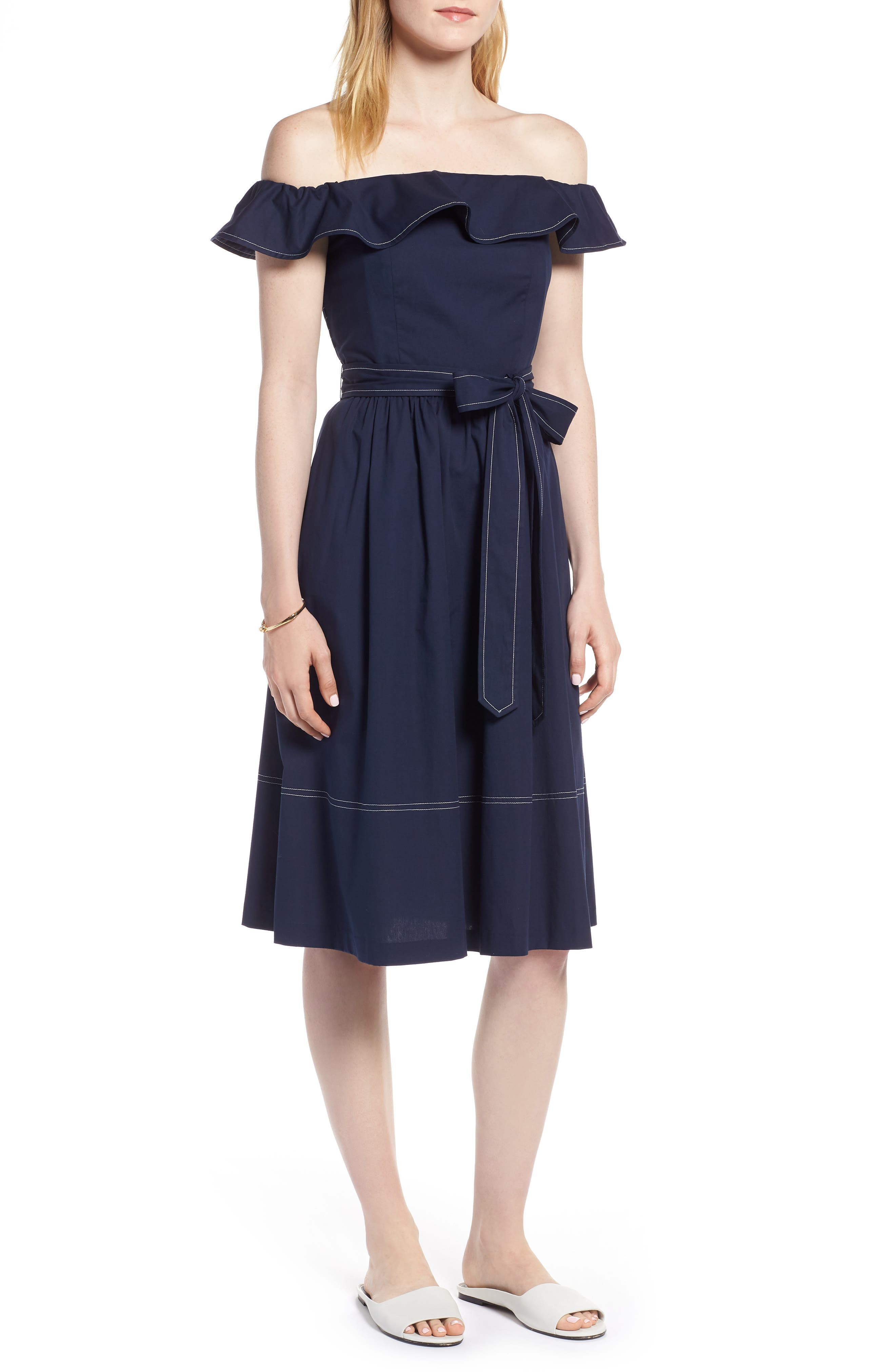 Off the Shoulder Contrast Stitch Dress,                         Main,                         color, Navy Sapphire