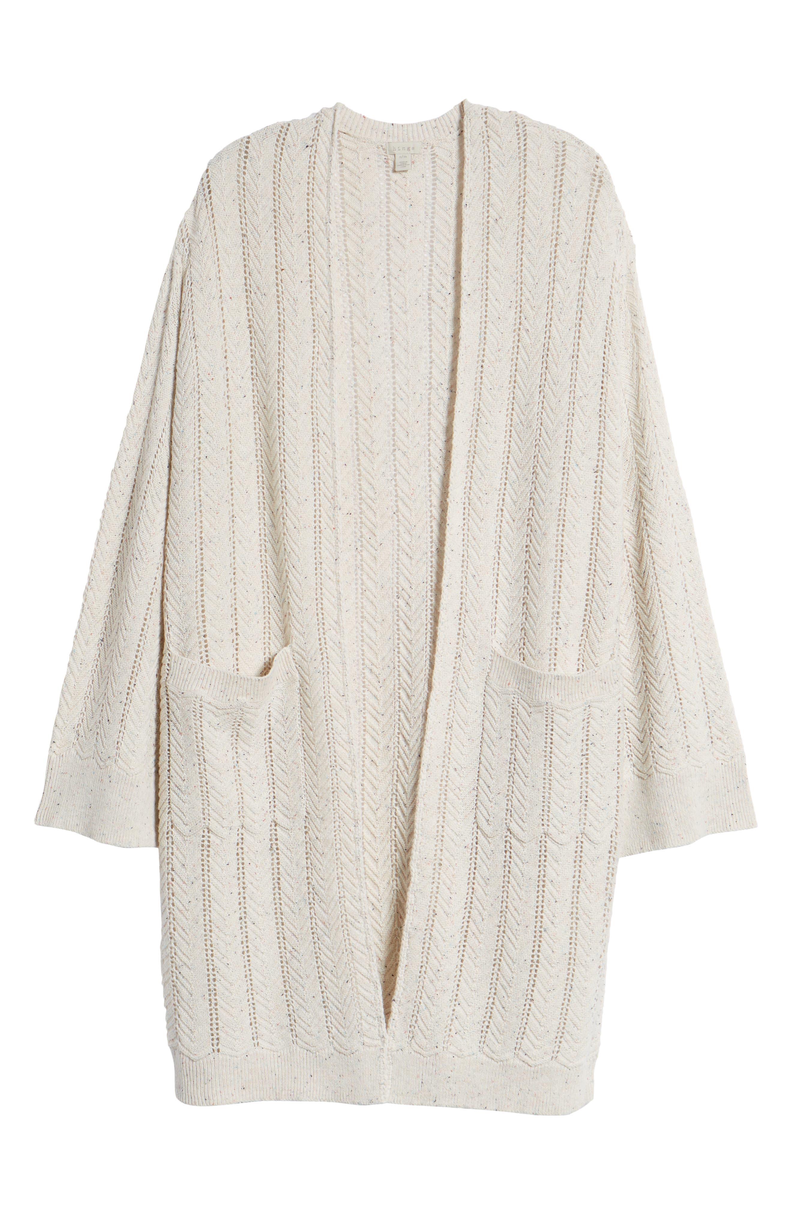 Long Tweed Herringbone Stitch Cardigan,                             Alternate thumbnail 6, color,                             Beige Oatmeal Heather
