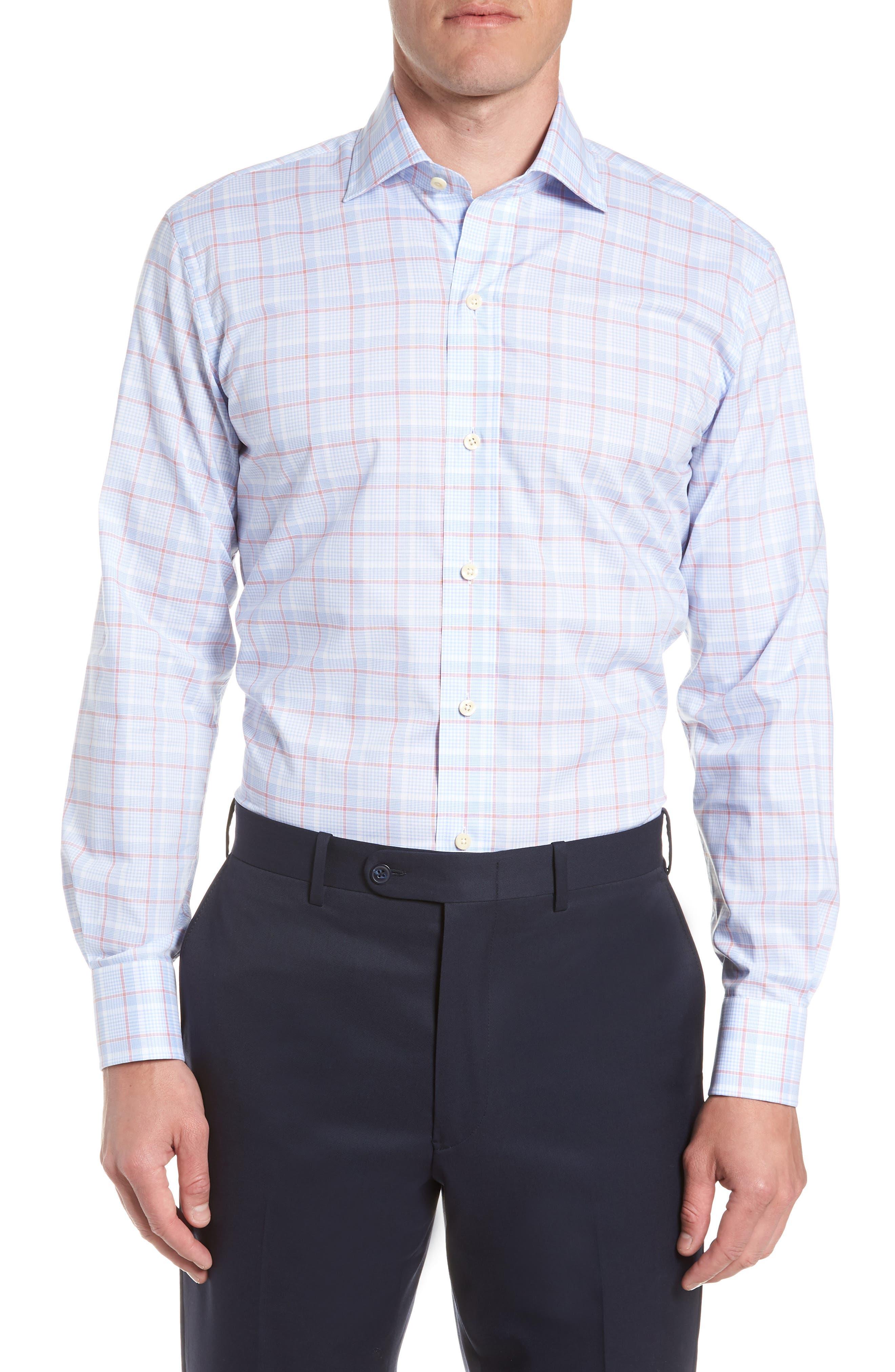 Conwell Slim Fit Plaid Dress Shirt,                             Main thumbnail 1, color,                             Blue