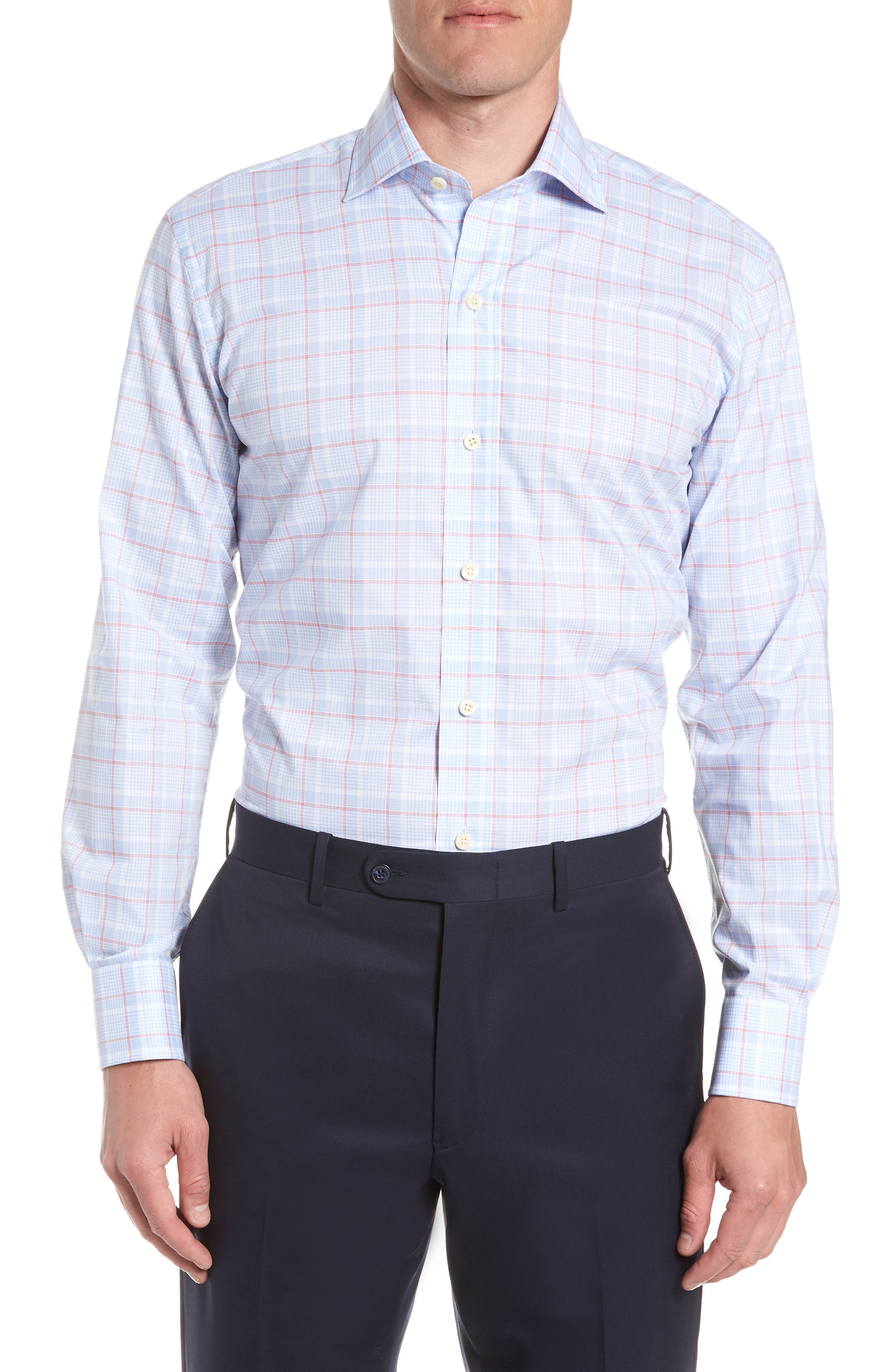 Conwell Slim Fit Plaid Dress Shirt,                         Main,                         color, Blue