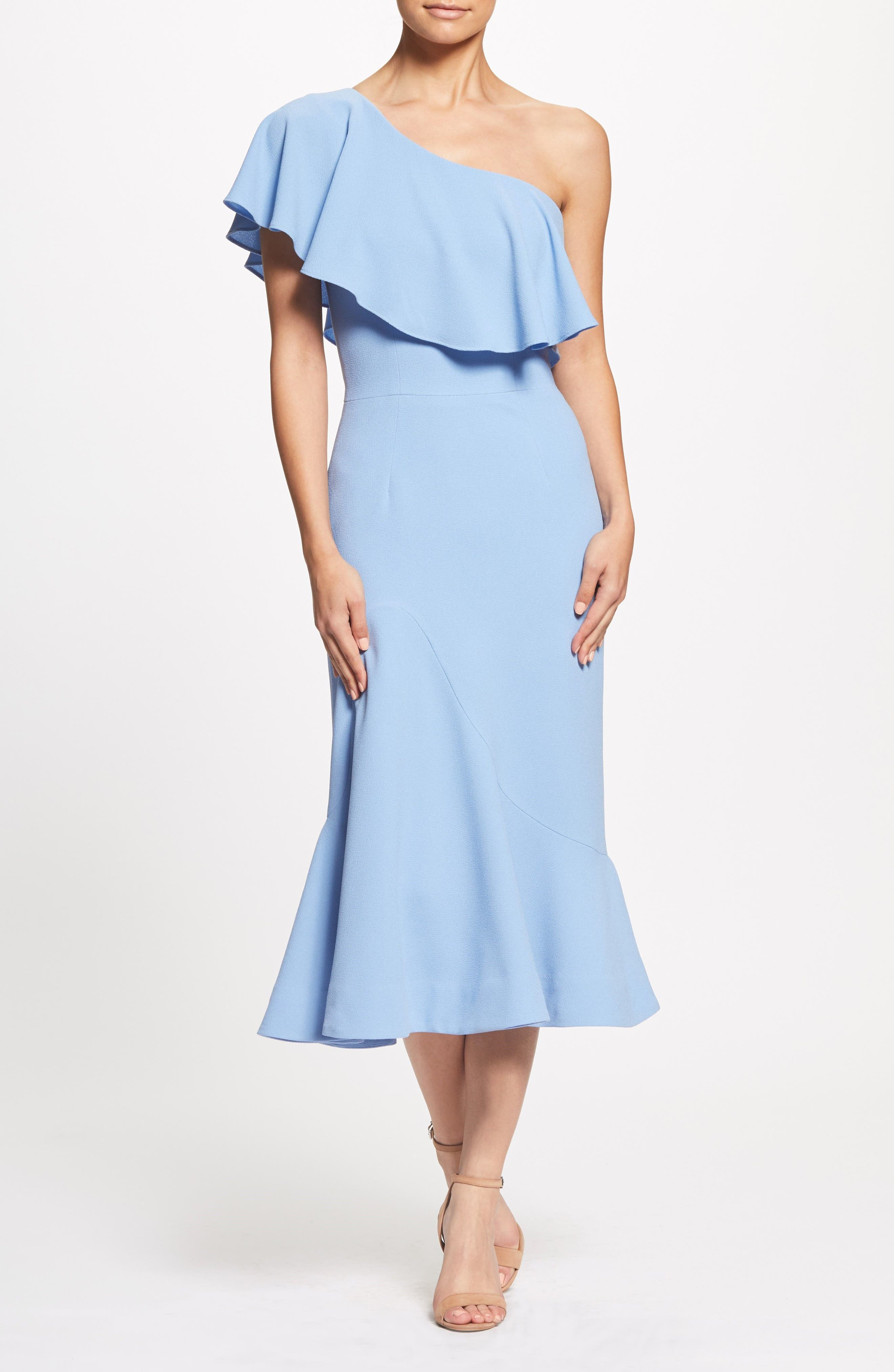 Raquel One-Shoulder Trumpet Dress,                             Alternate thumbnail 2, color,                             Ice Blue